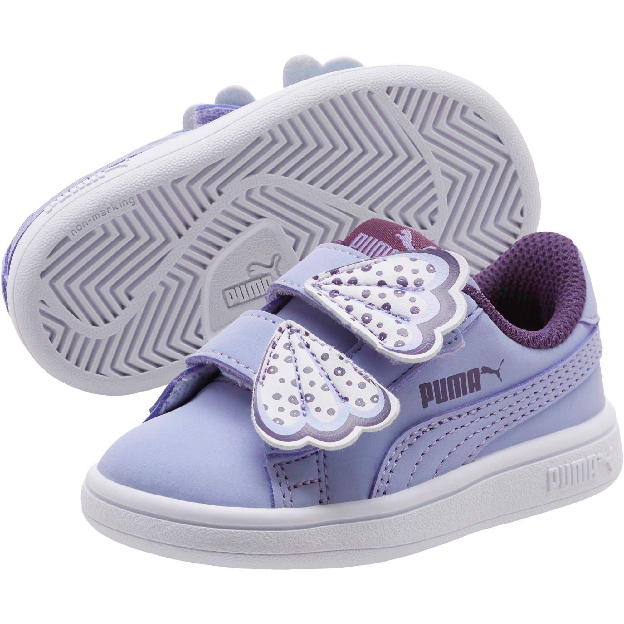 Thumbnail 2 of PUMA Smash v2 Butterfly AC Toddler Shoes, Sweet Lavender-Indigo-White, medium