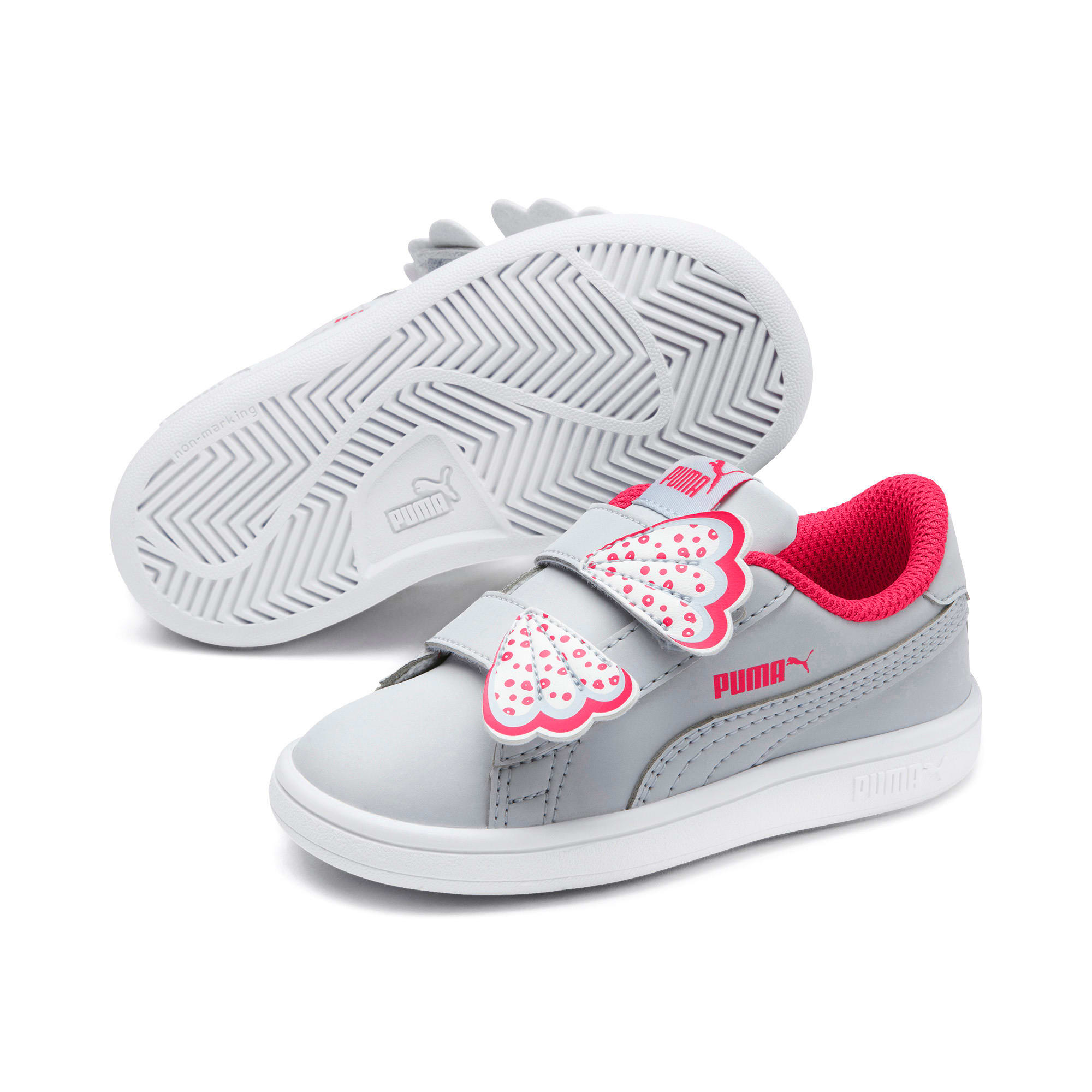 Thumbnail 2 of PUMA Smash v2 Butterfly AC Toddler Shoes, Heather-Nrgy Rose-Puma White, medium