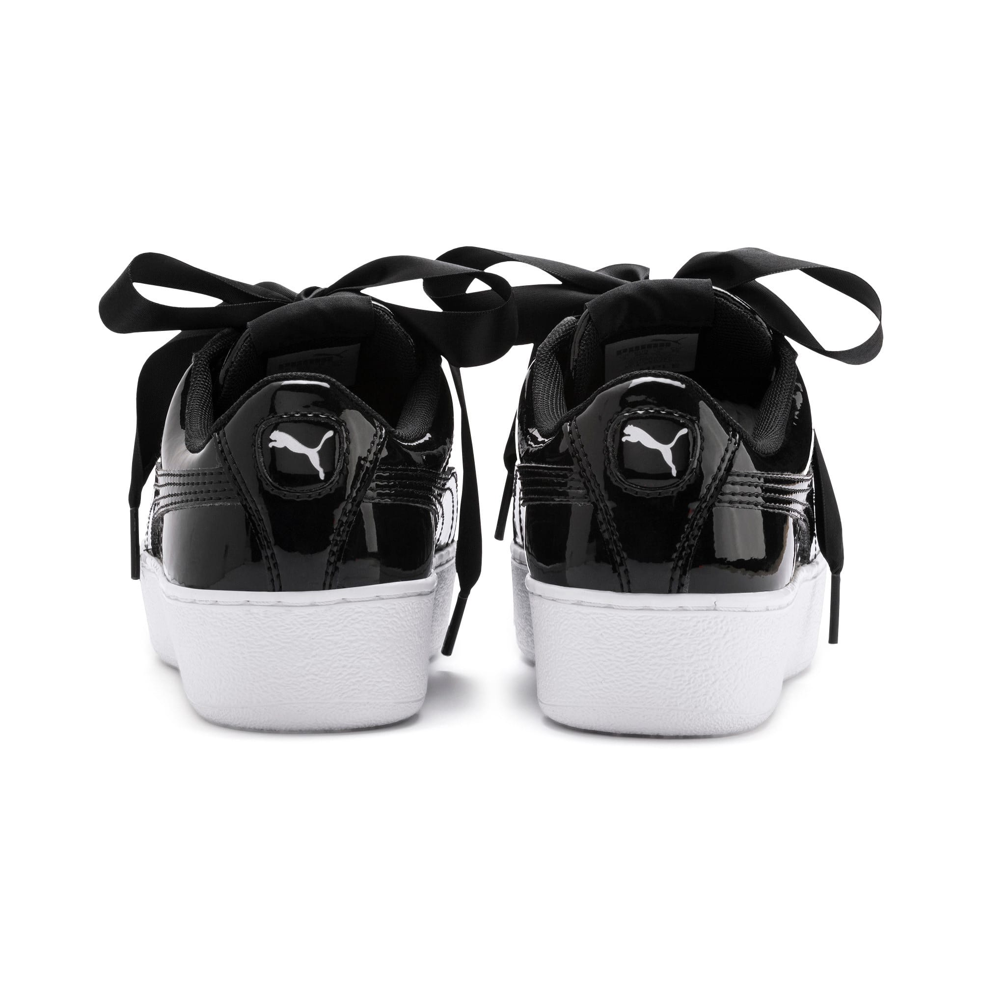 Thumbnail 3 of Vikky Platform Ribbon Patent Girls' Trainers, Puma Black-Puma Black, medium