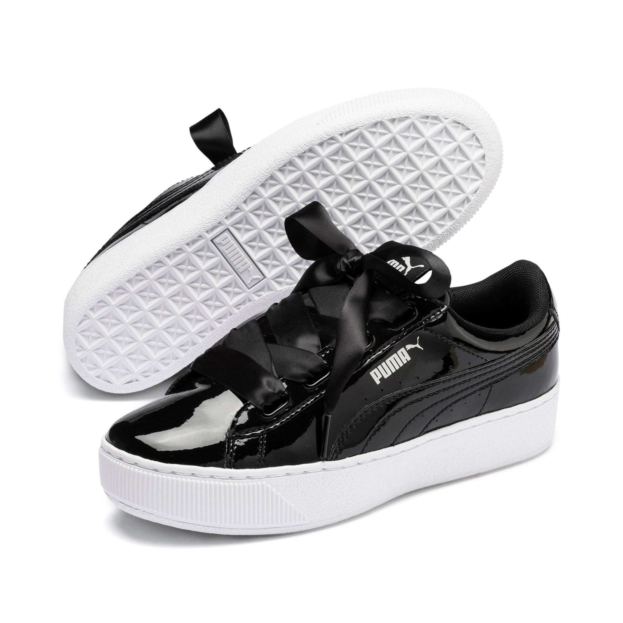 Thumbnail 2 of Vikky Platform Ribbon Patent Girls' Trainers, Puma Black-Puma Black, medium