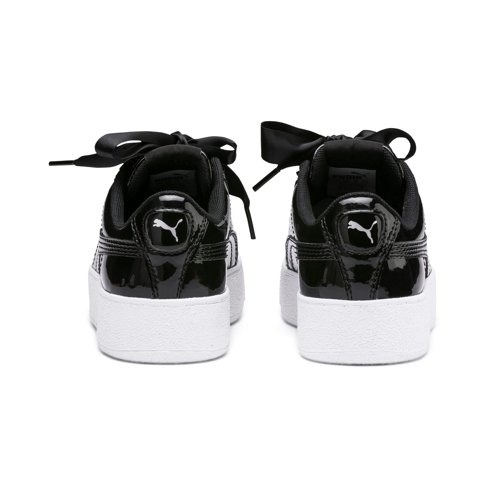 Thumbnail 3 of Vikky Platform Ribbon Patent Kids' Trainers, Puma Black-Puma Black, medium