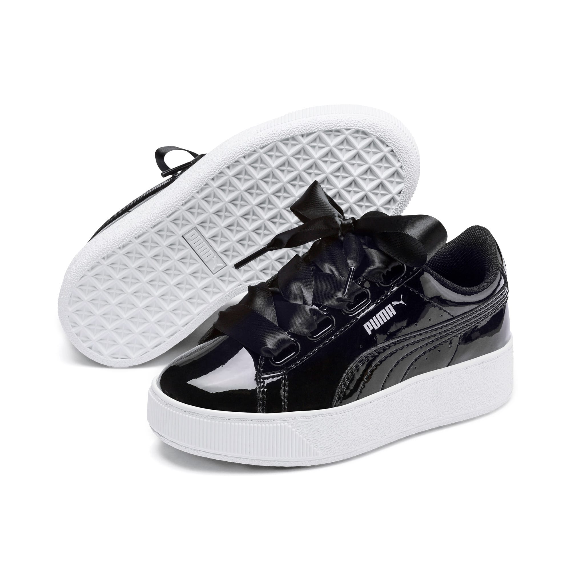 Thumbnail 2 of Vikky Platform Ribbon Patent Kids' Trainers, Puma Black-Puma Black, medium