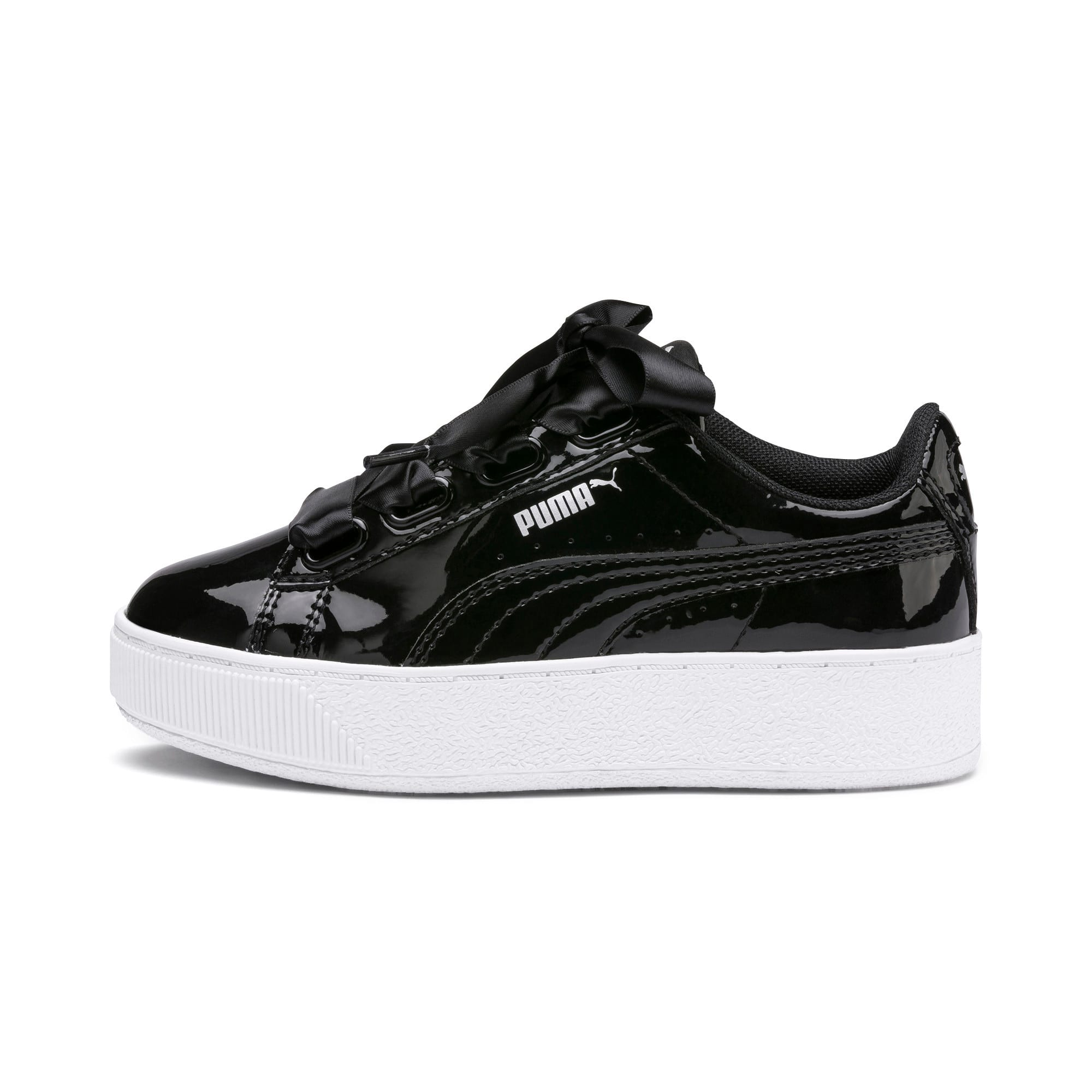 Thumbnail 1 of Vikky Platform Ribbon Patent Kids' Trainers, Puma Black-Puma Black, medium
