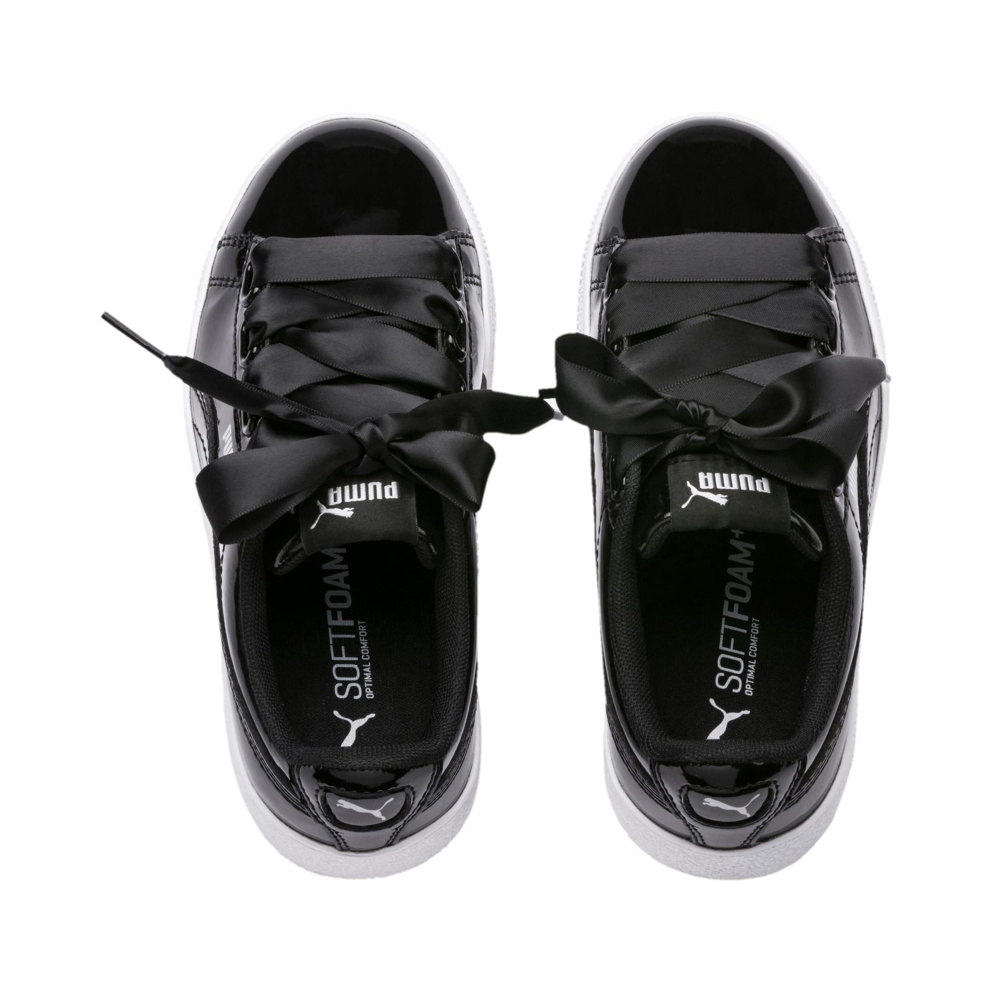 Thumbnail 6 of Vikky Platform Ribbon Patent Kids' Trainers, Puma Black-Puma Black, medium