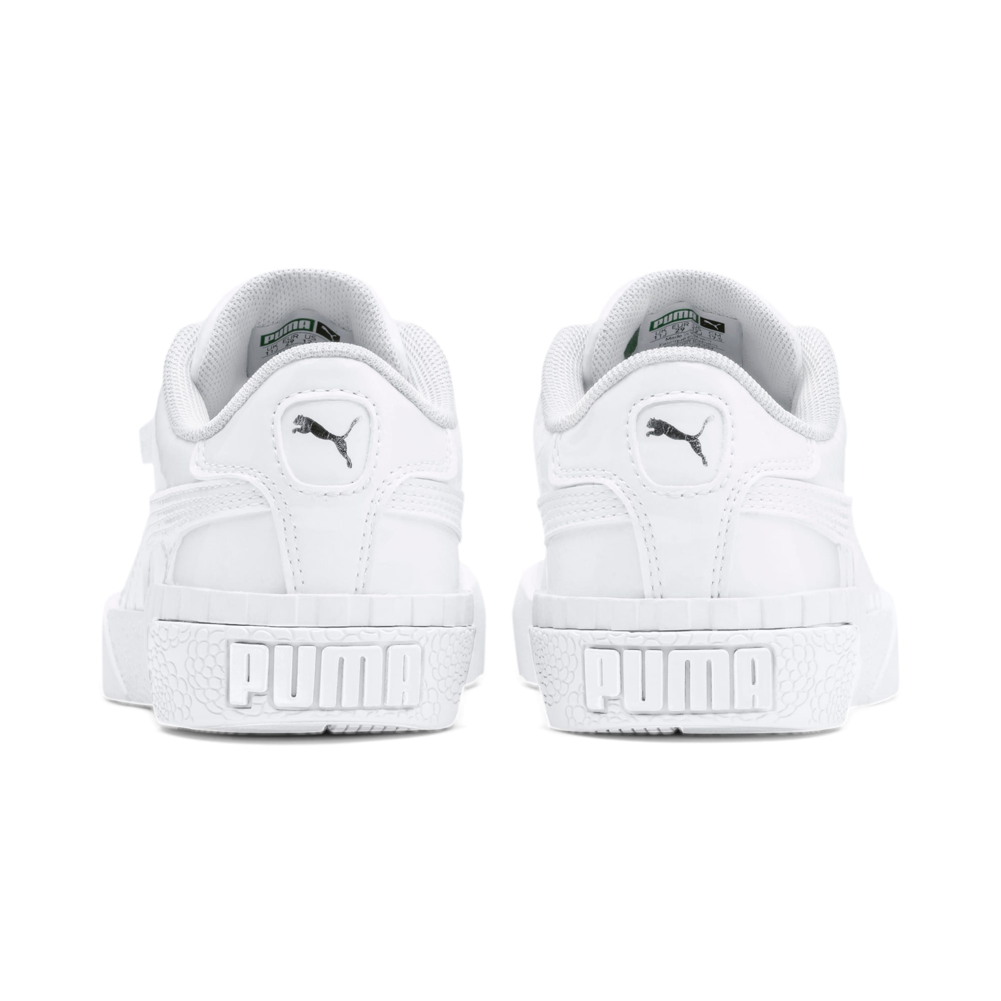 Thumbnail 3 of Cali Patent Kids' Trainers, Puma White-Puma White, medium