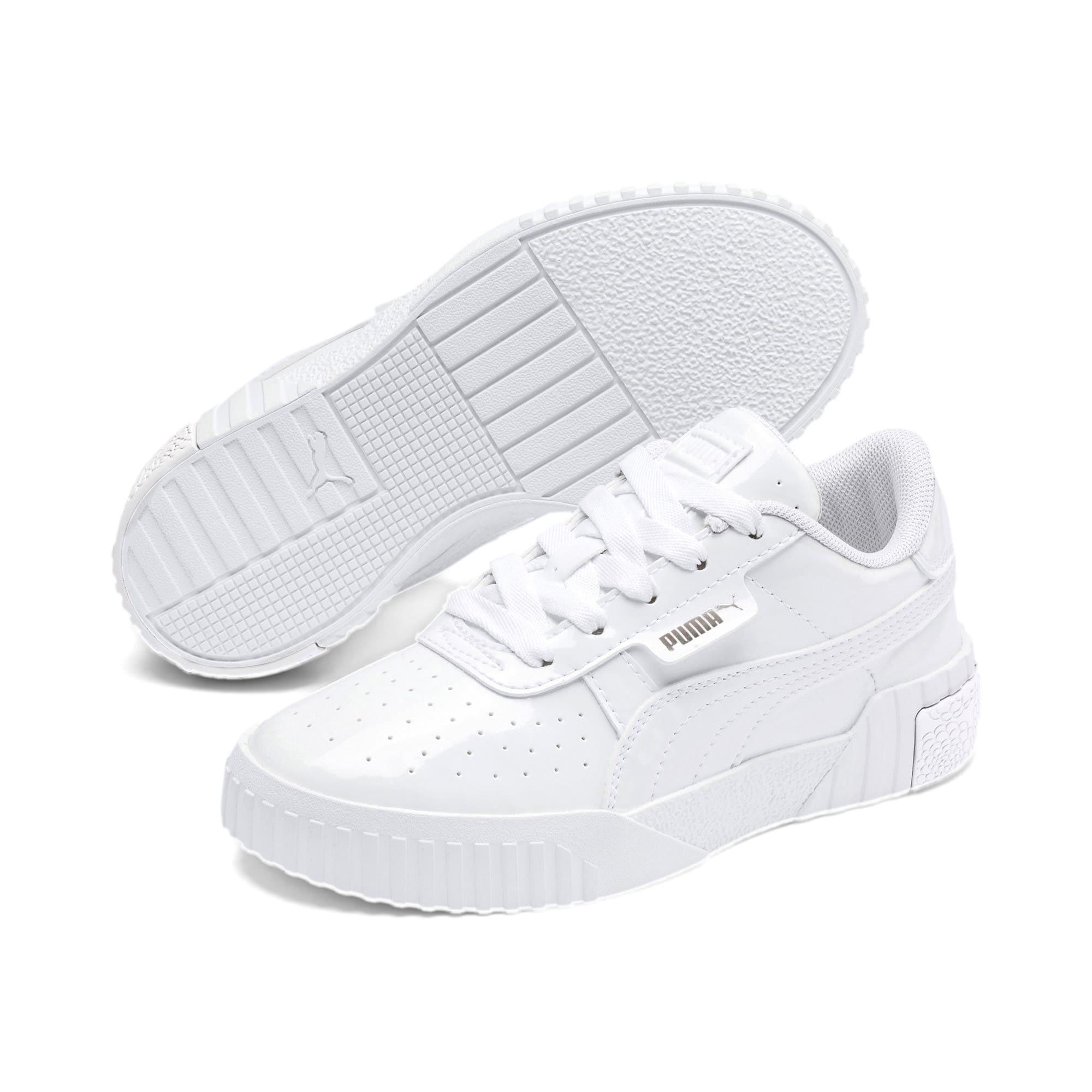 Thumbnail 2 of Cali Patent Kids' Trainers, Puma White-Puma White, medium