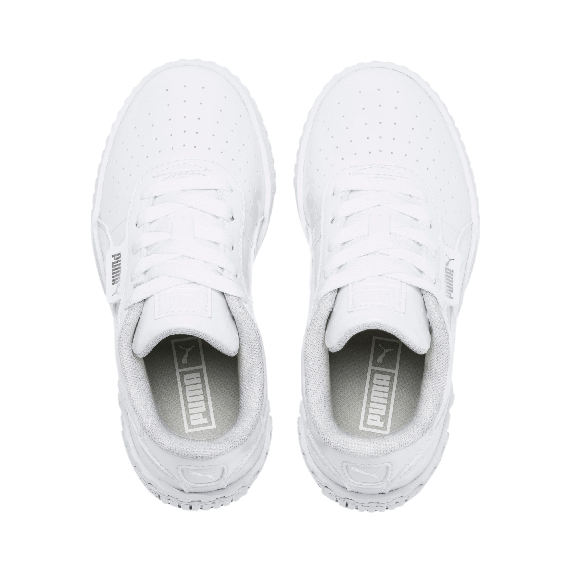 Thumbnail 6 of Cali Patent Kids' Trainers, Puma White-Puma White, medium