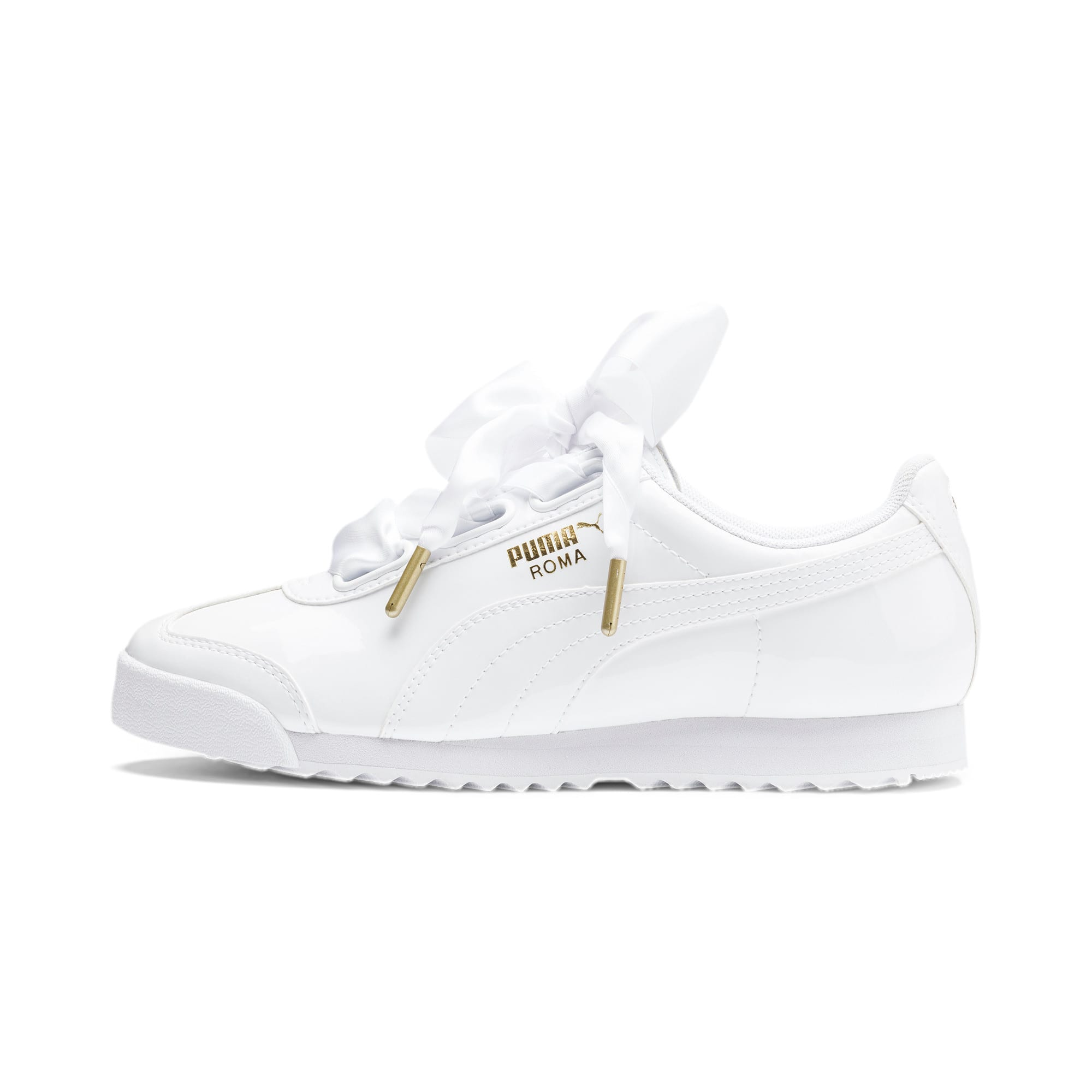 Roma Heart Patent Women's Sneakers, Puma White-Puma Team Gold, large