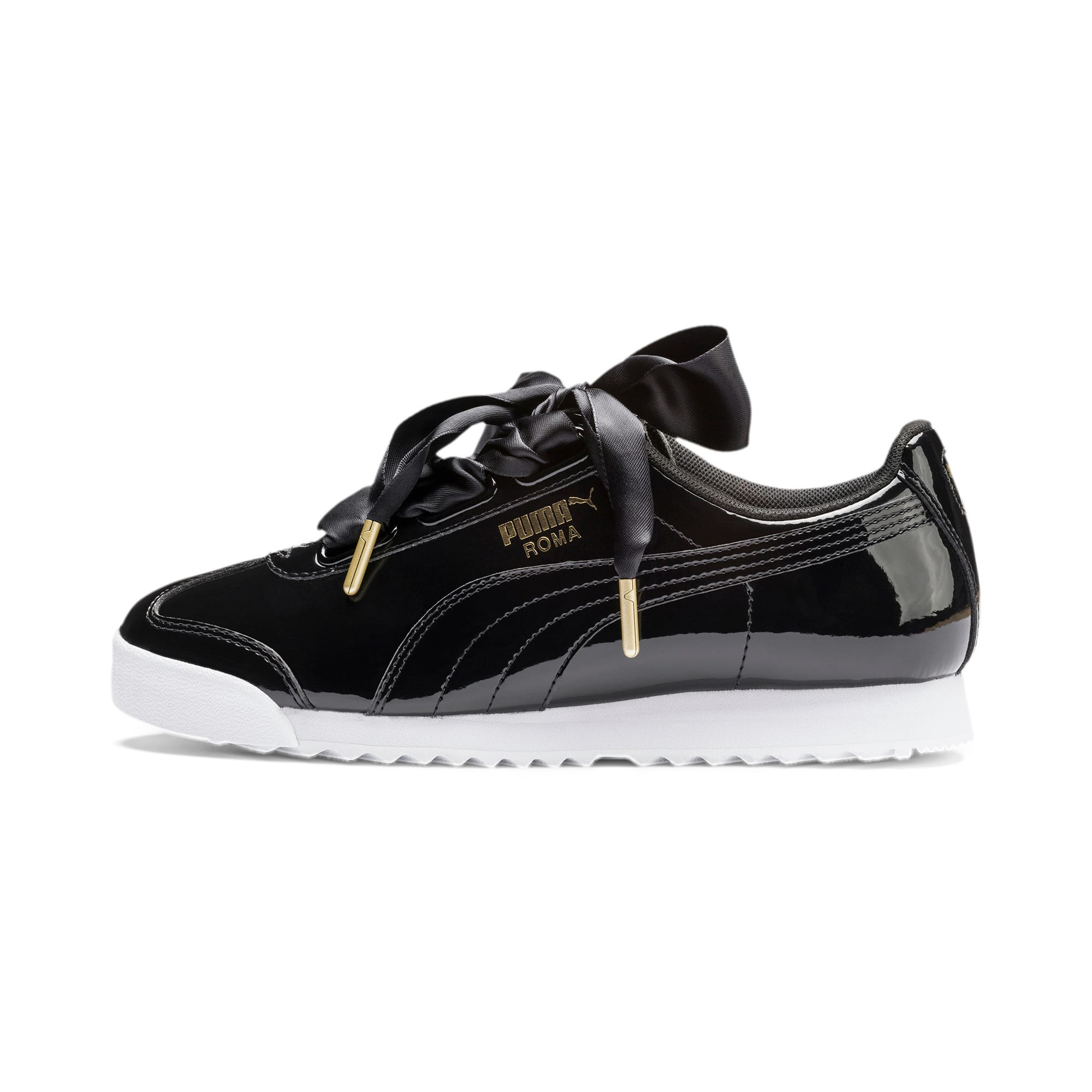 Thumbnail 1 of Roma Heart Patent Women's Sneakers, Puma Black-Puma Team Gold, medium