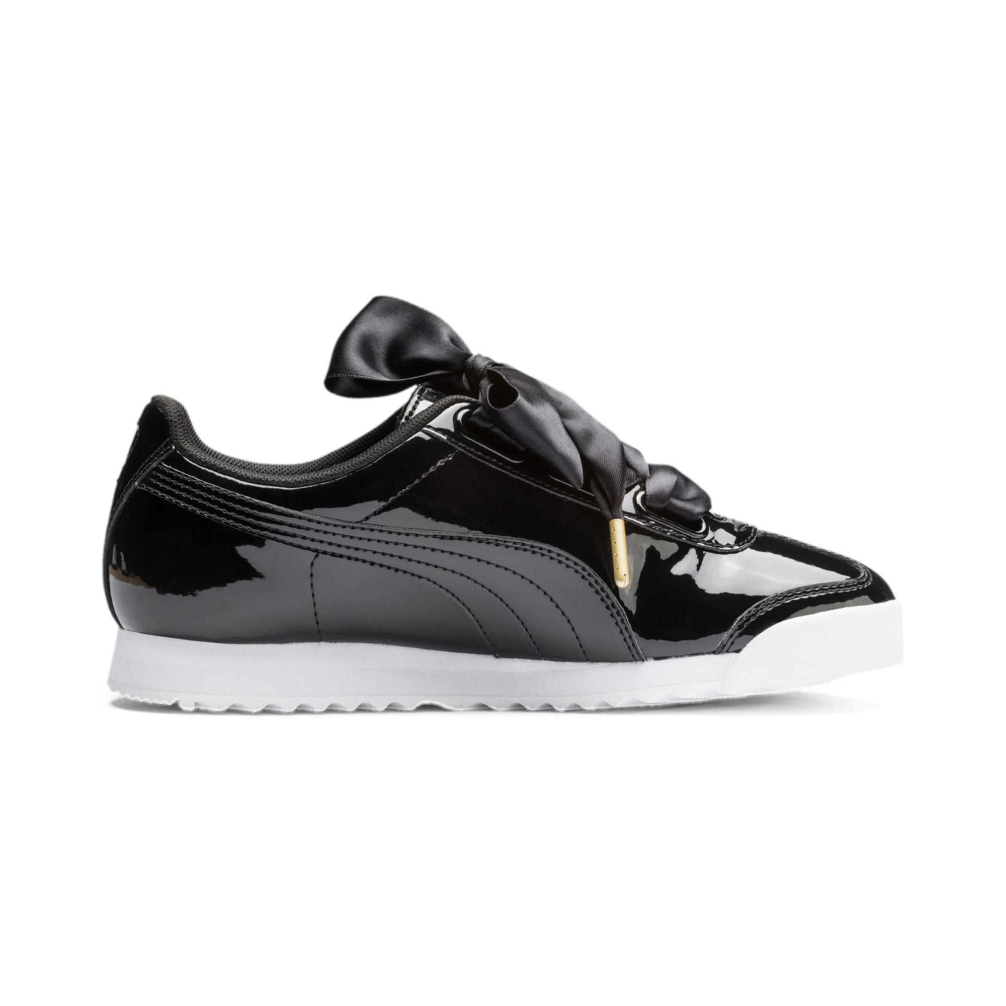Thumbnail 6 of Roma Heart Patent Women's Sneakers, Puma Black-Puma Team Gold, medium