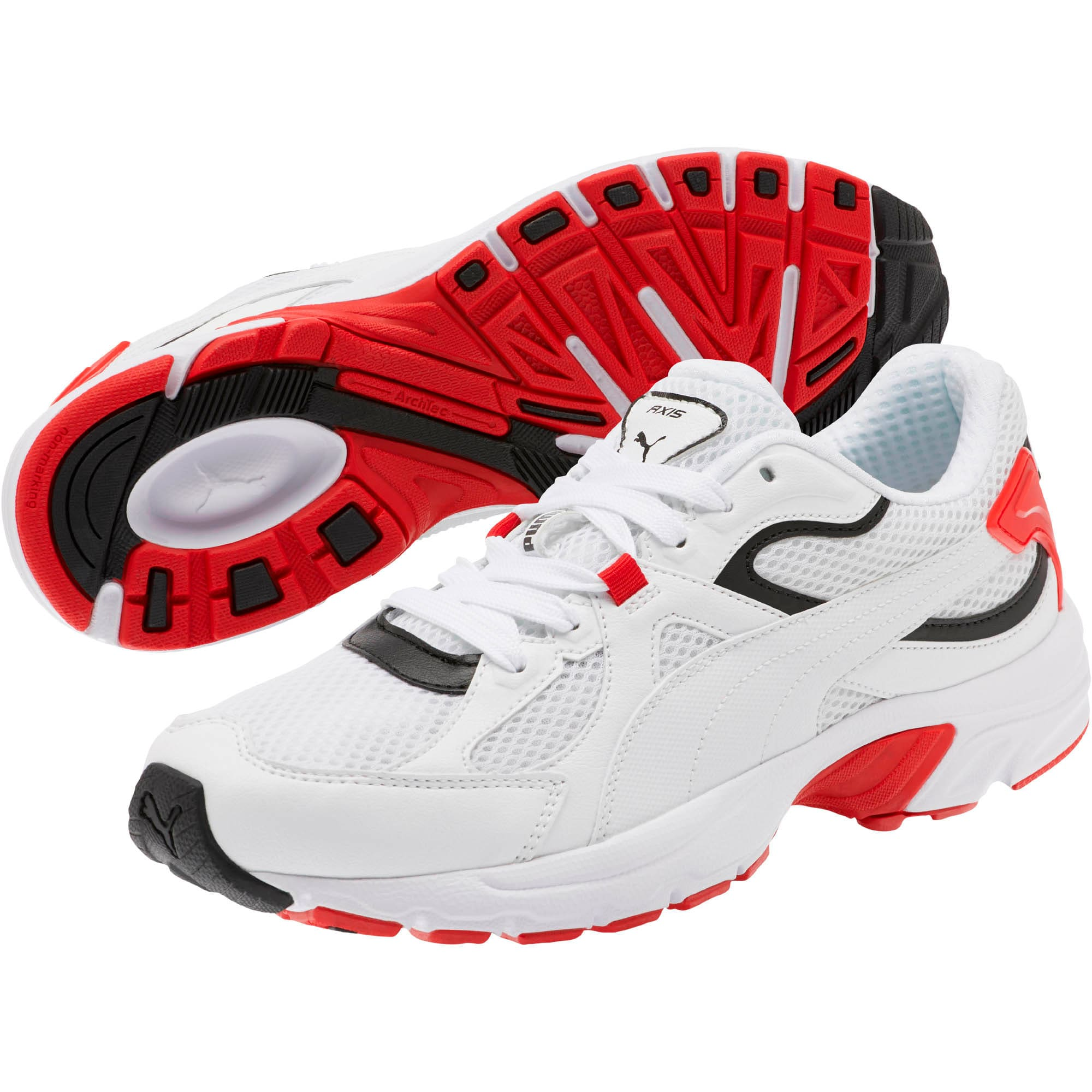 Thumbnail 2 of Axis Plus 90s Sneakers, Puma White-Puma Black-Red, medium