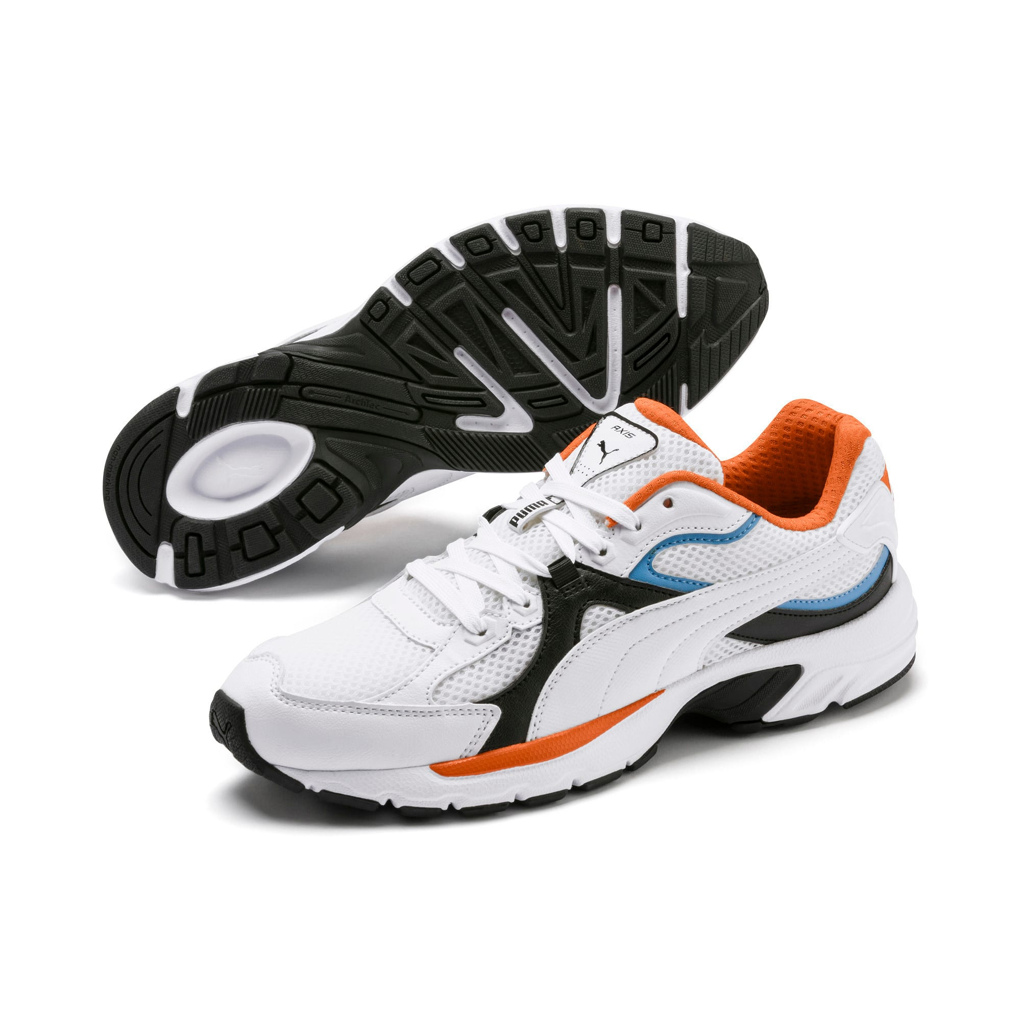 Thumbnail 3 of Axis Plus 90s Sneakers, White-Blk-T Lt Blue-J Orange, medium