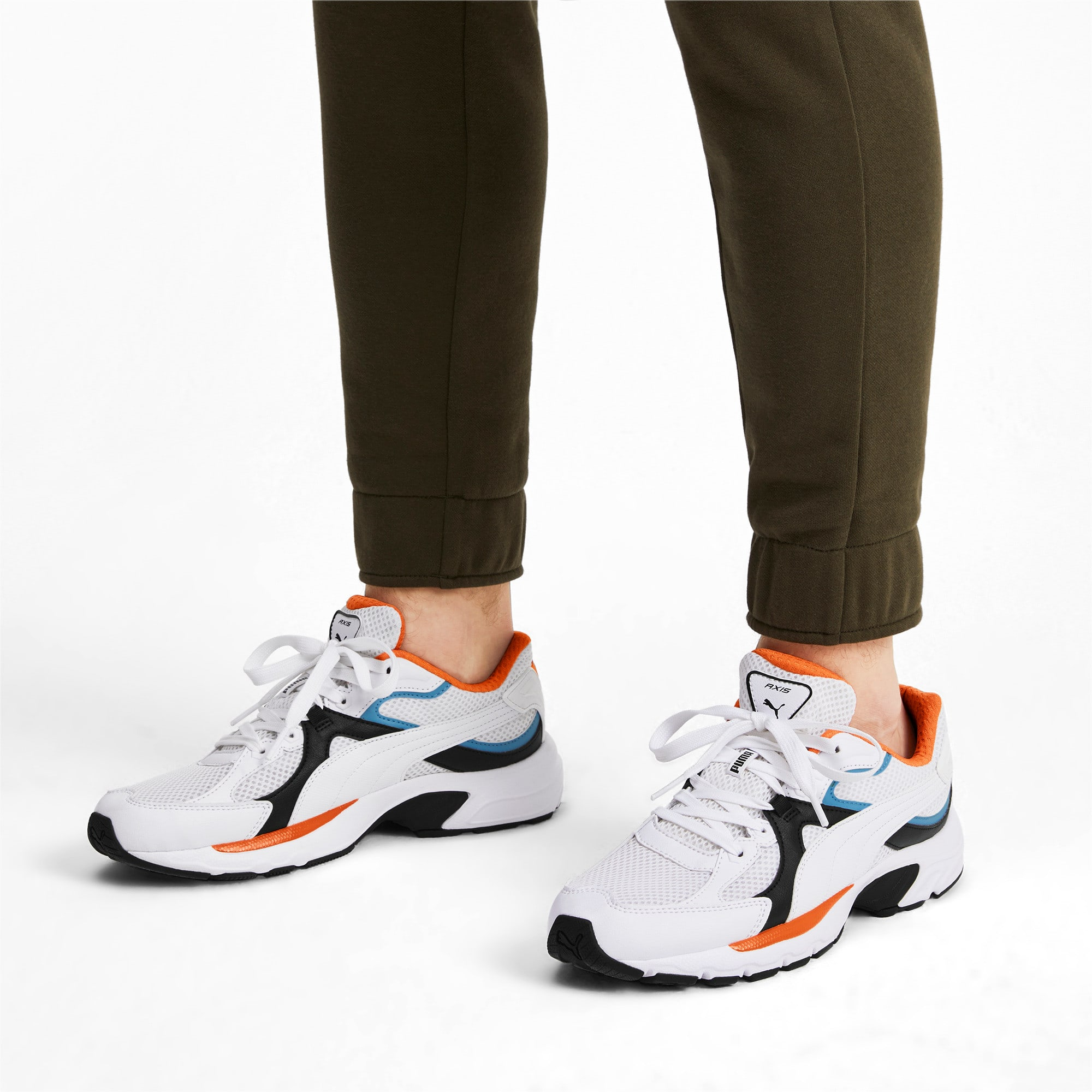 Thumbnail 2 of Axis Plus 90s Sneakers, White-Blk-T Lt Blue-J Orange, medium