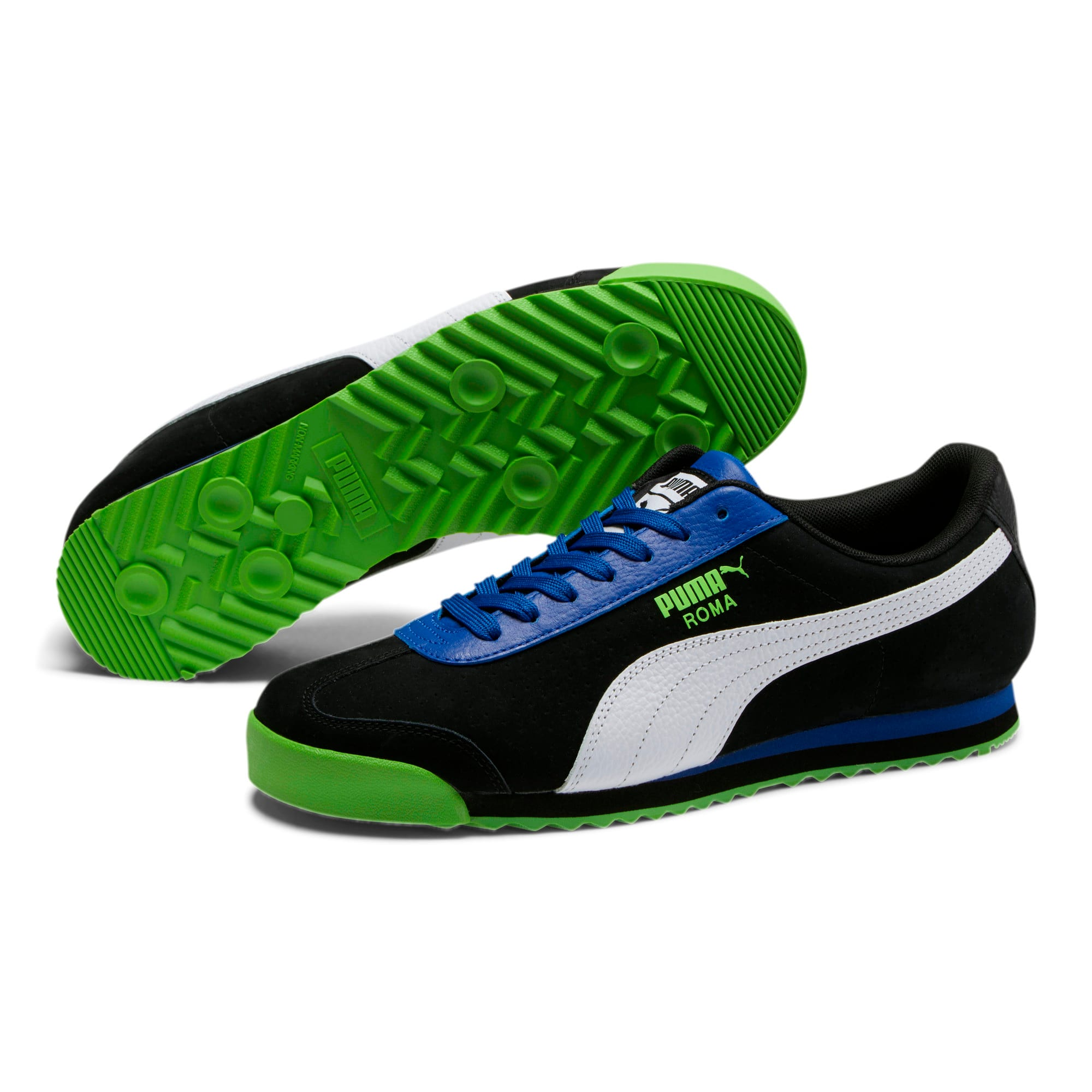 Thumbnail 2 of Roma XTG Perf Men's Sneakers, Puma Black-Surf The Web, medium