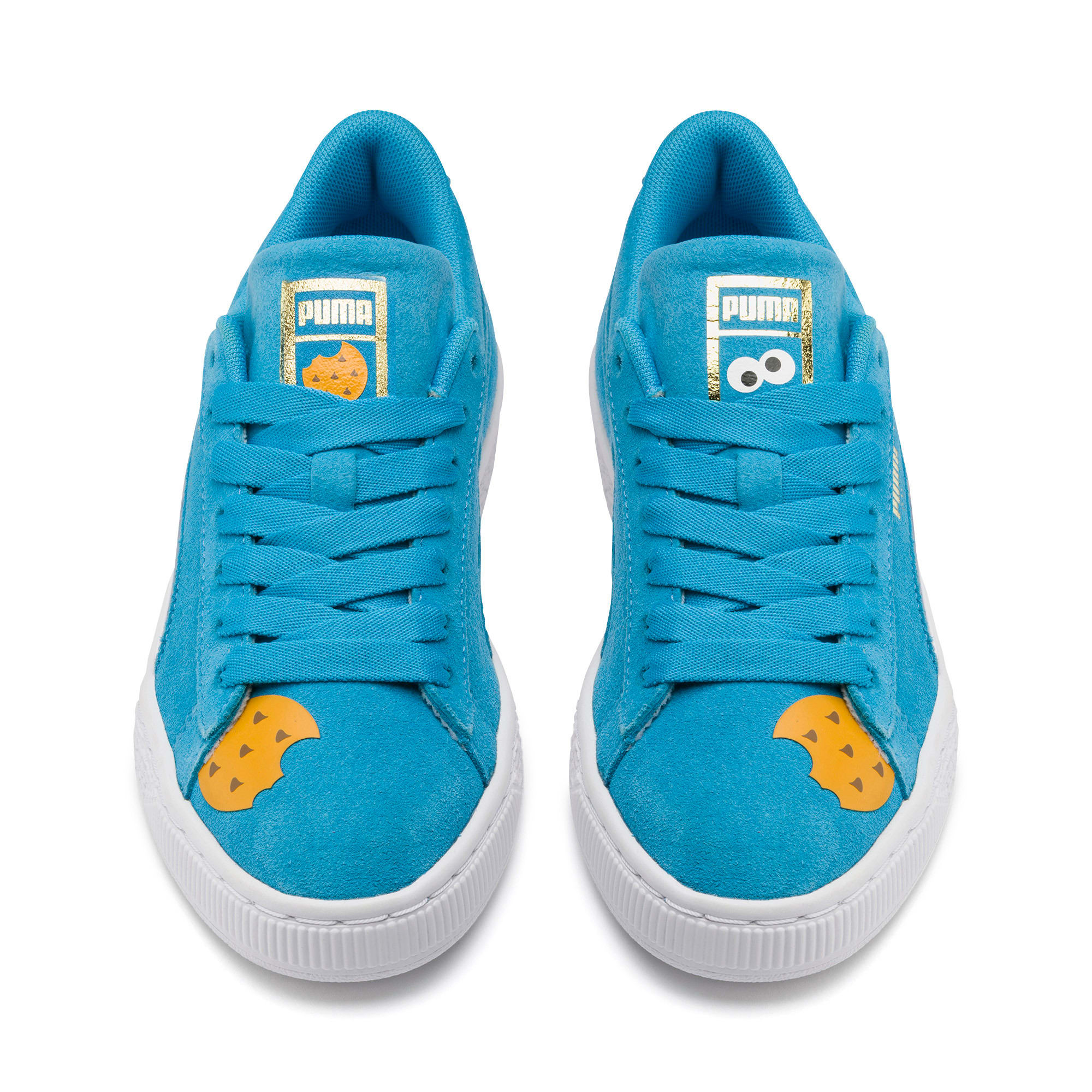 Thumbnail 7 of Sesamstraße 50 Suede Statement Youth Sneaker, Bleu Azur-Puma White, medium