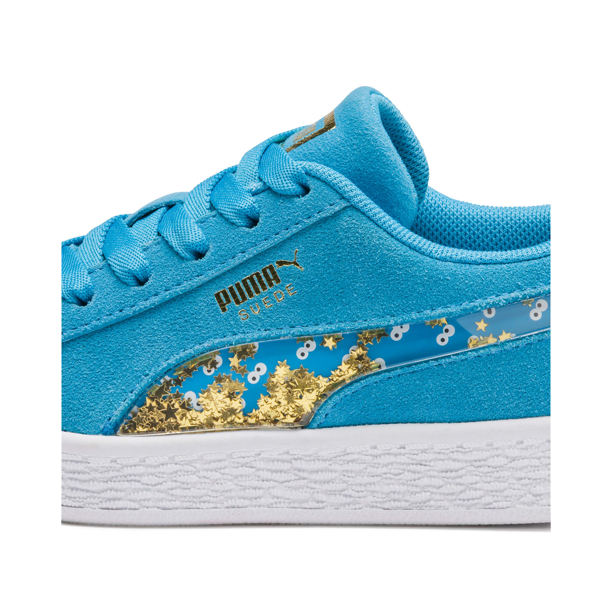 Thumbnail 8 of Sesamstraße 50 Suede Statement Youth Sneaker, Bleu Azur-Puma White, medium