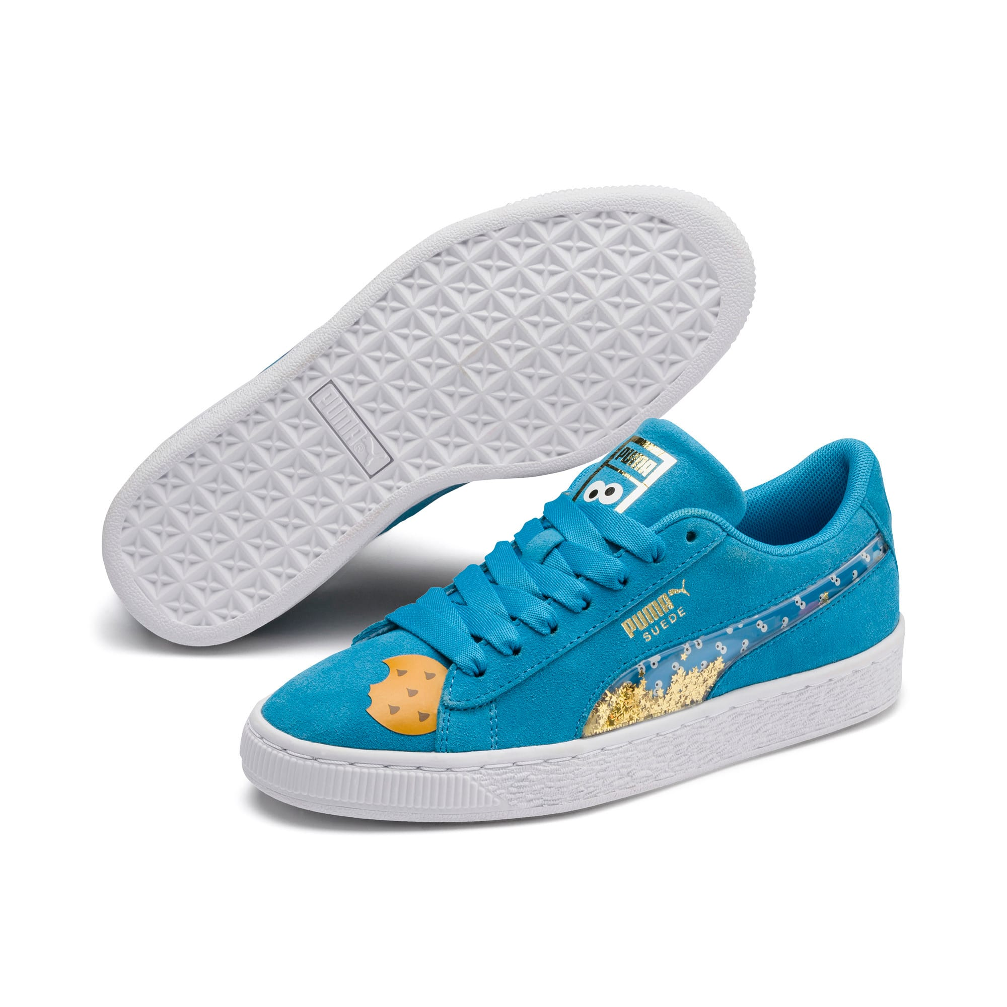 Thumbnail 2 of Sesamstraße 50 Suede Statement Youth Sneaker, Bleu Azur-Puma White, medium