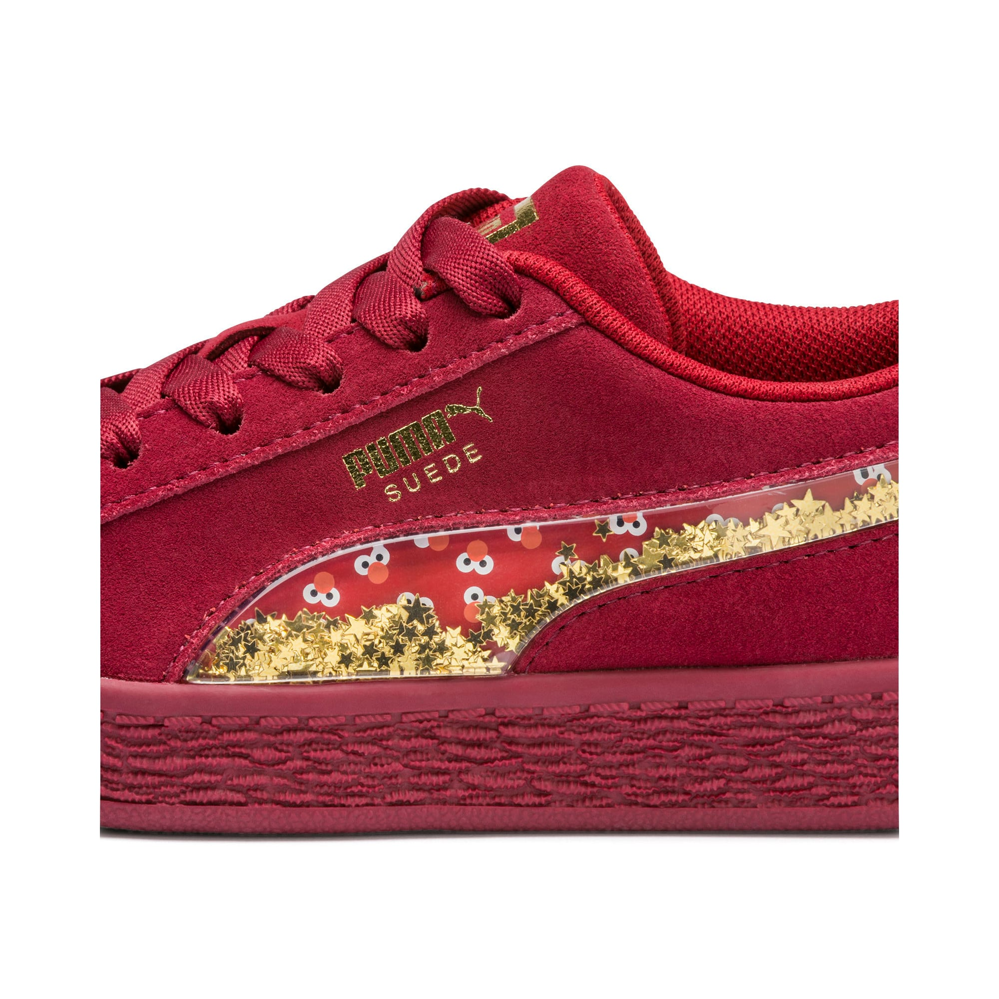 Thumbnail 8 of Sesame Street 50 Suede Statement Youth Trainers, Rhubarb-Puma White, medium