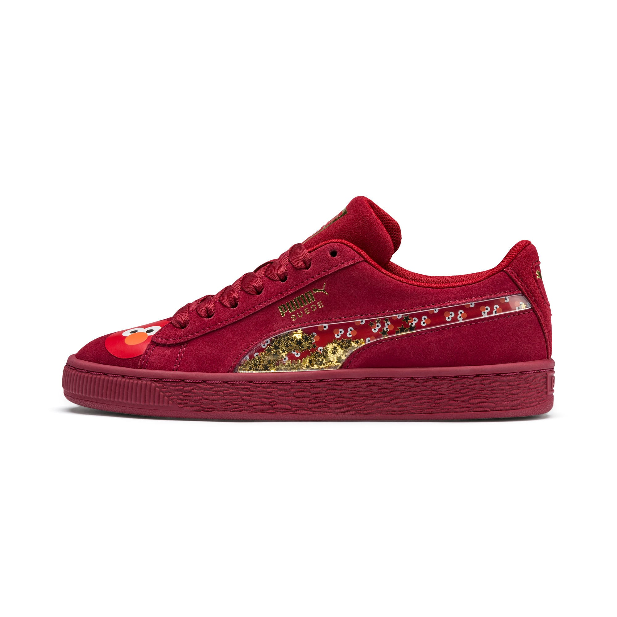 Thumbnail 1 of Sesame Street 50 Suede Statement Youth Trainers, Rhubarb-Puma White, medium