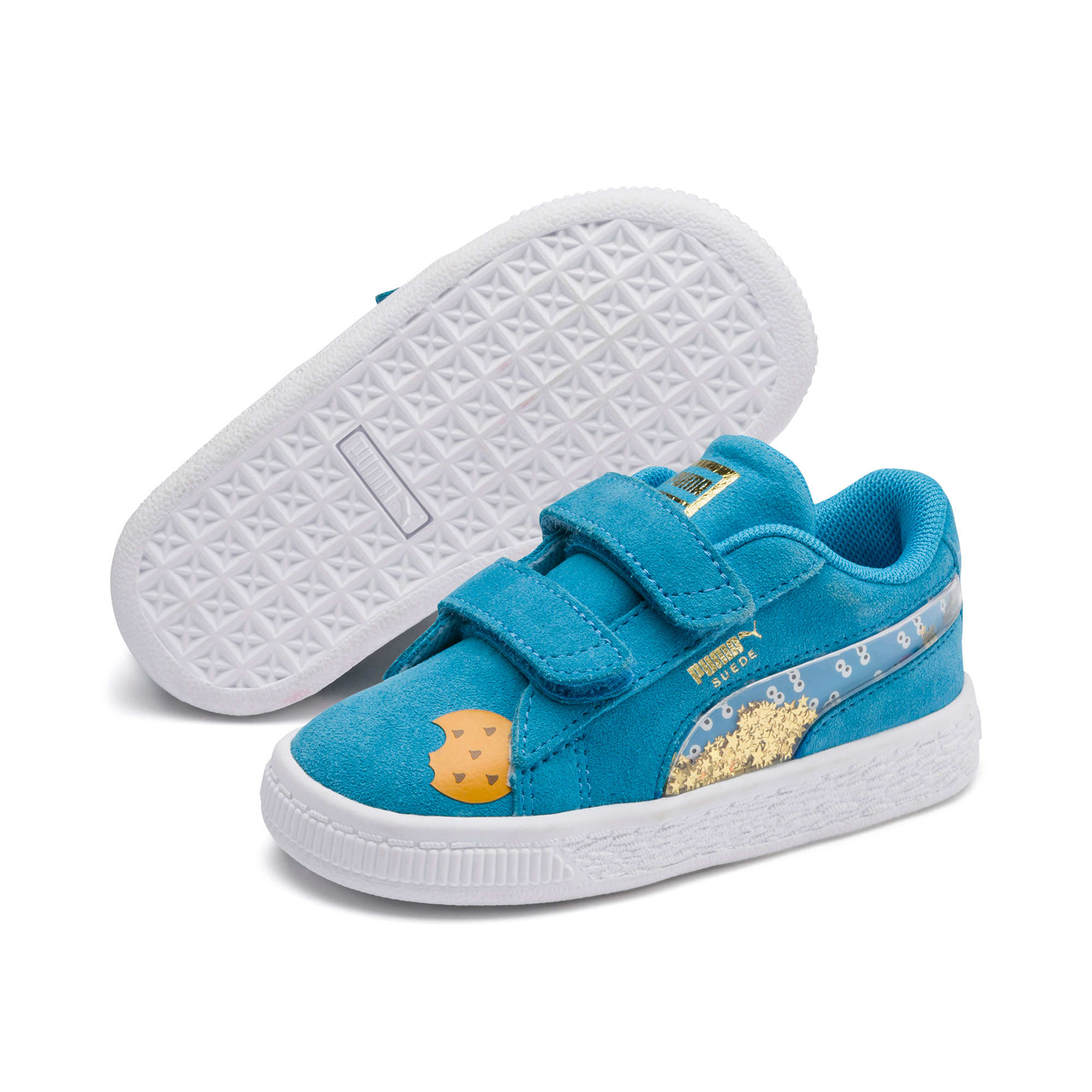 Thumbnail 2 of Sesame Street 50 Suede Statement Babies' Trainers, Bleu Azur-Puma White, medium