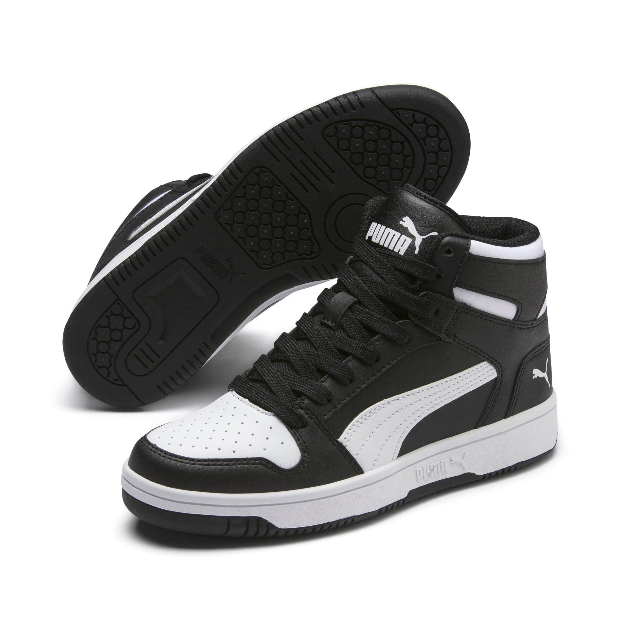 Thumbnail 2 of PUMA Rebound LayUp Mid Sneakers JR, Puma Black-Puma White, medium