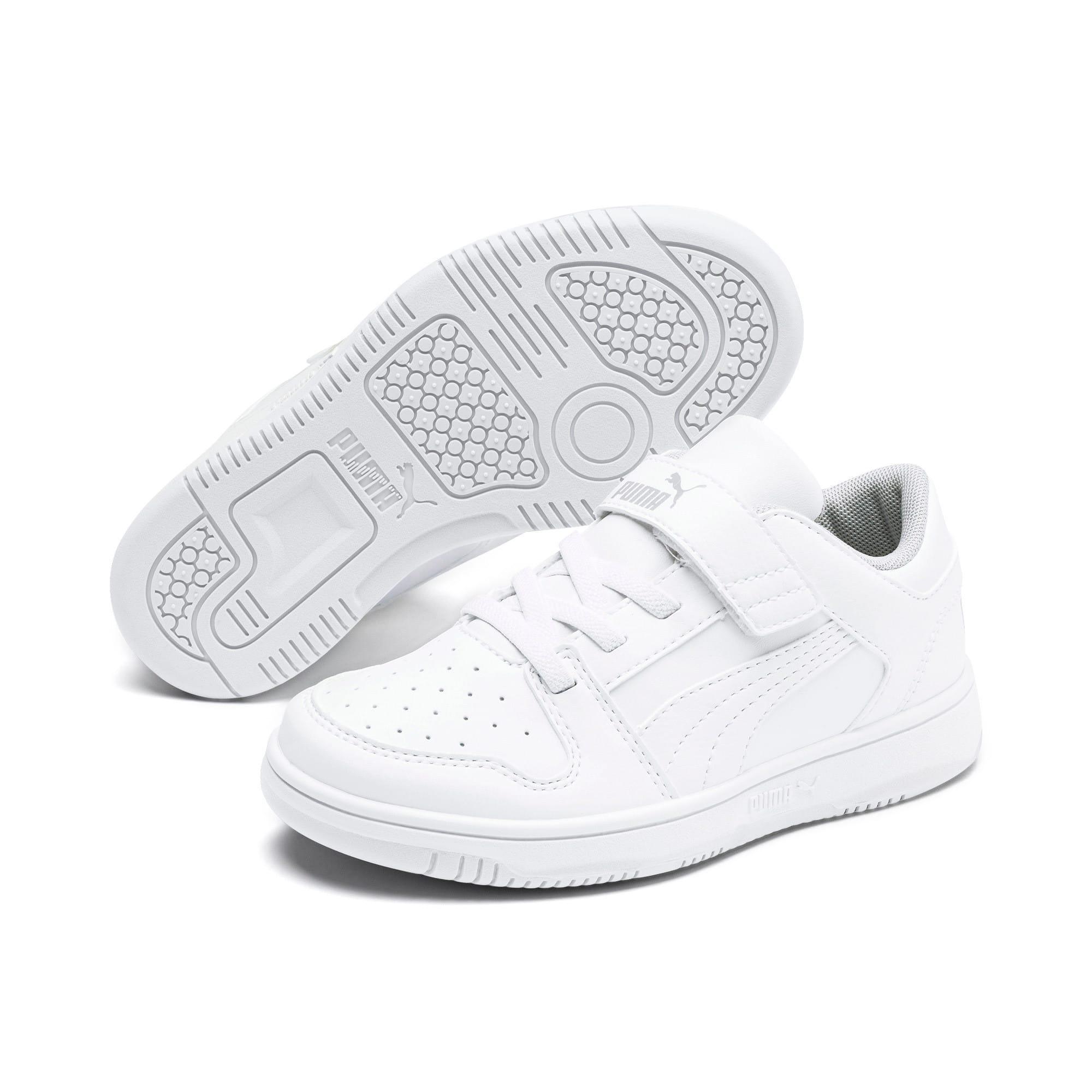 Thumbnail 2 of PUMA Rebound LayUp Lo Little Kids' Shoes, Puma White-High Rise, medium