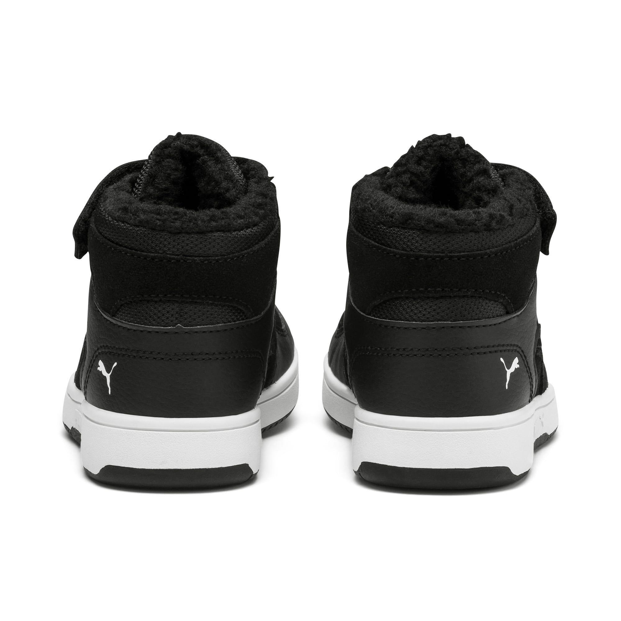 Thumbnail 3 of Rebound Lay-Up Fur V Kids Sneaker, Puma Black-Puma White, medium