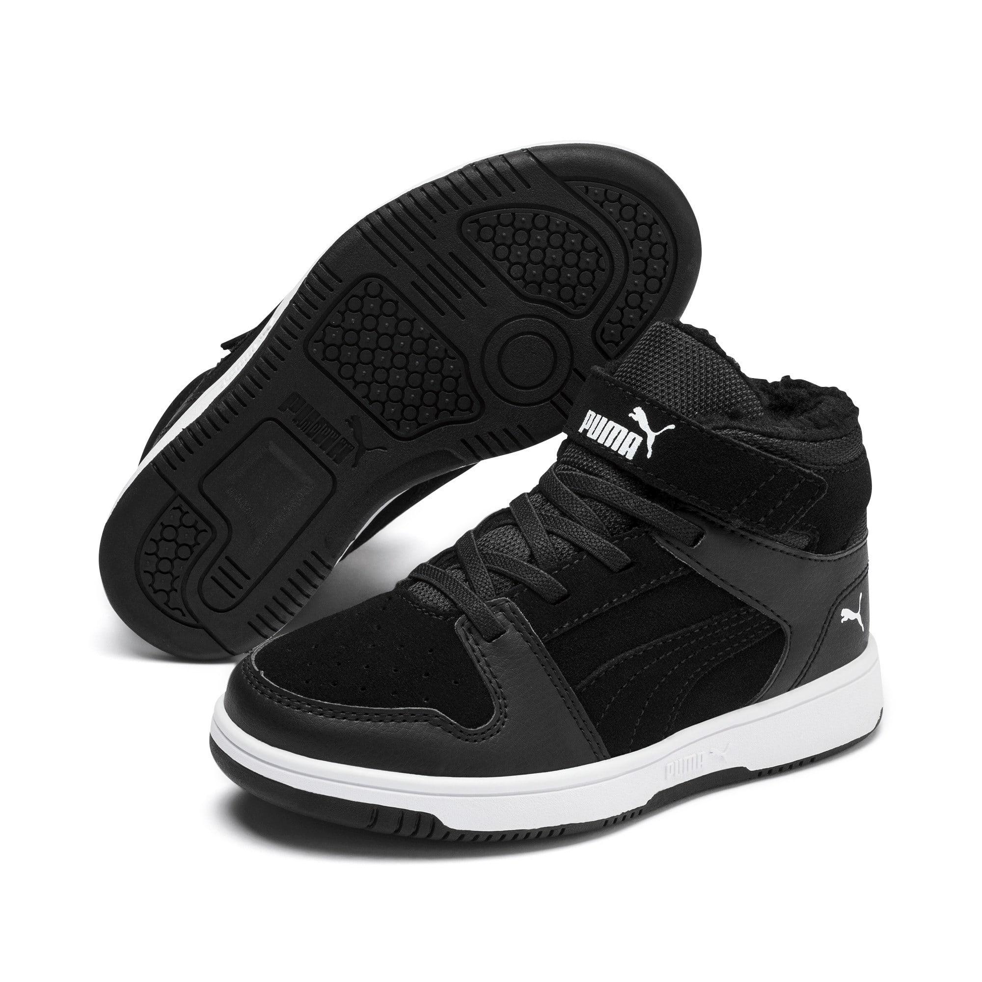 Thumbnail 2 of Rebound Lay-Up Fur V Kids Sneaker, Puma Black-Puma White, medium