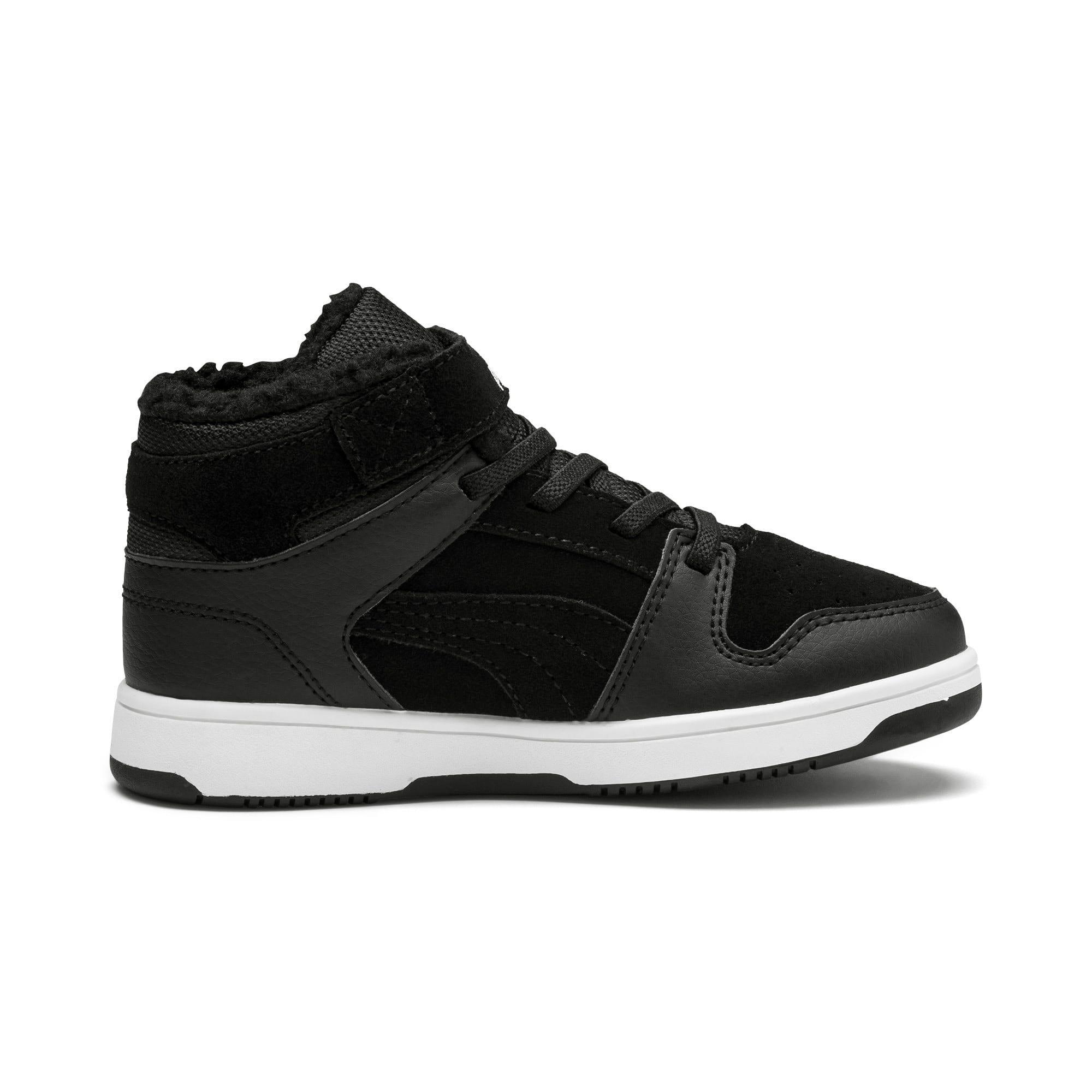 Thumbnail 5 of Rebound Lay-Up Fur V Kids Sneaker, Puma Black-Puma White, medium