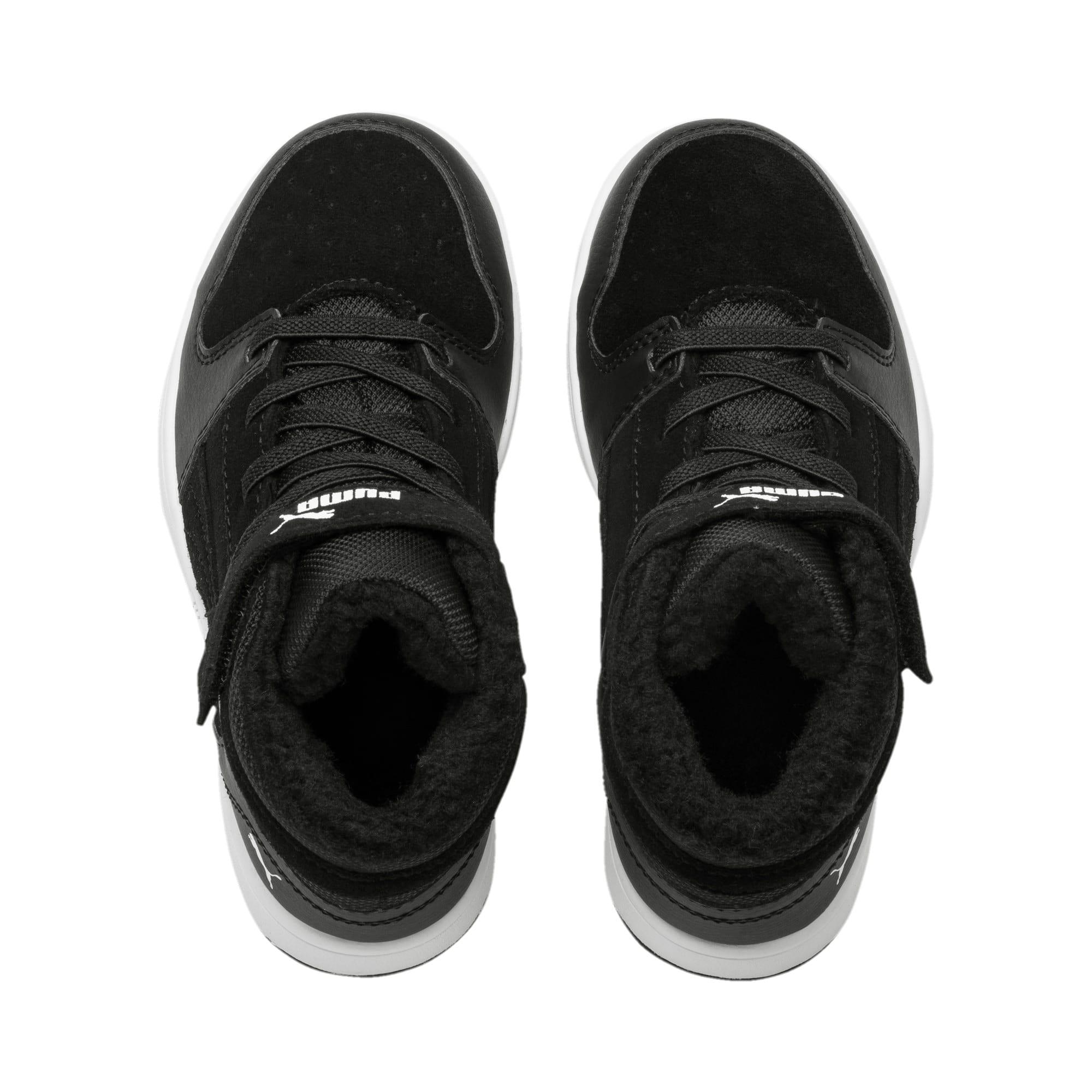 Thumbnail 6 of Rebound Lay-Up Fur V Kids Sneaker, Puma Black-Puma White, medium