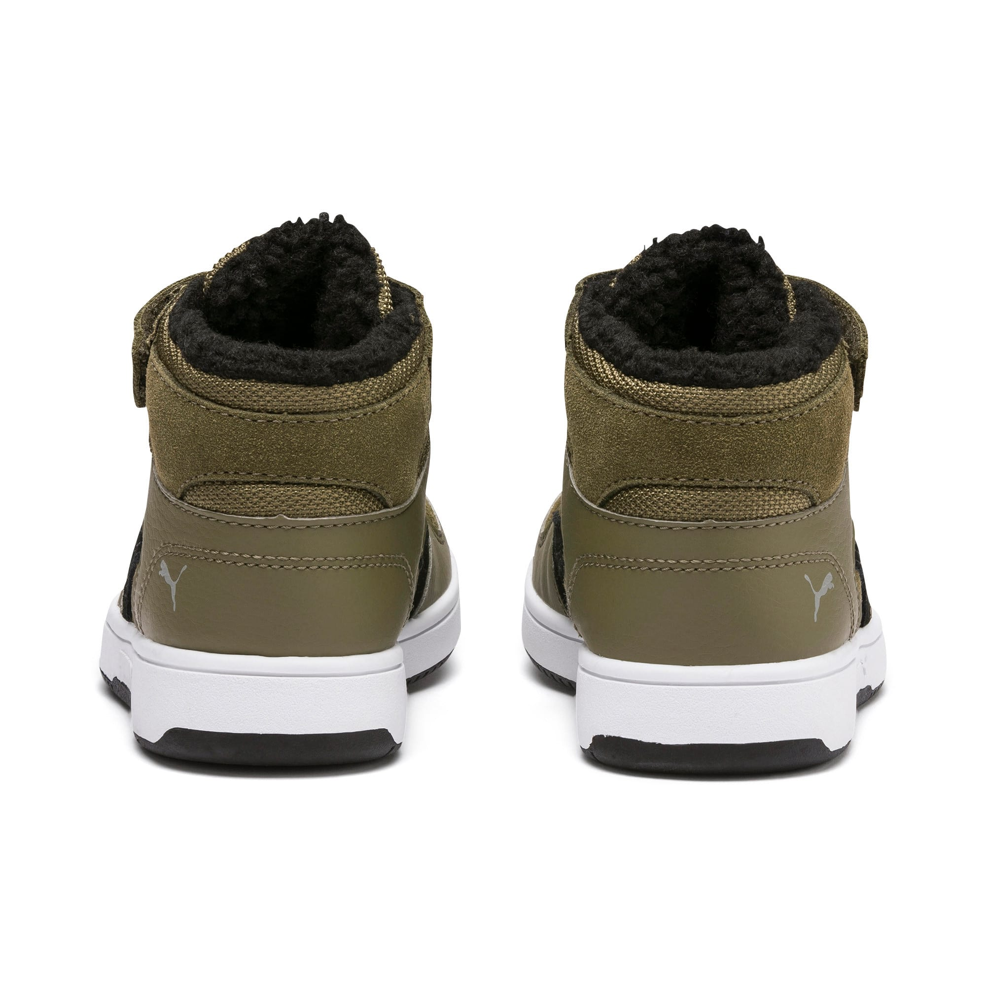 Thumbnail 3 of Rebound Lay-Up Fur V Kids' Trainers, B Olive-Black-Limestone-Wht, medium