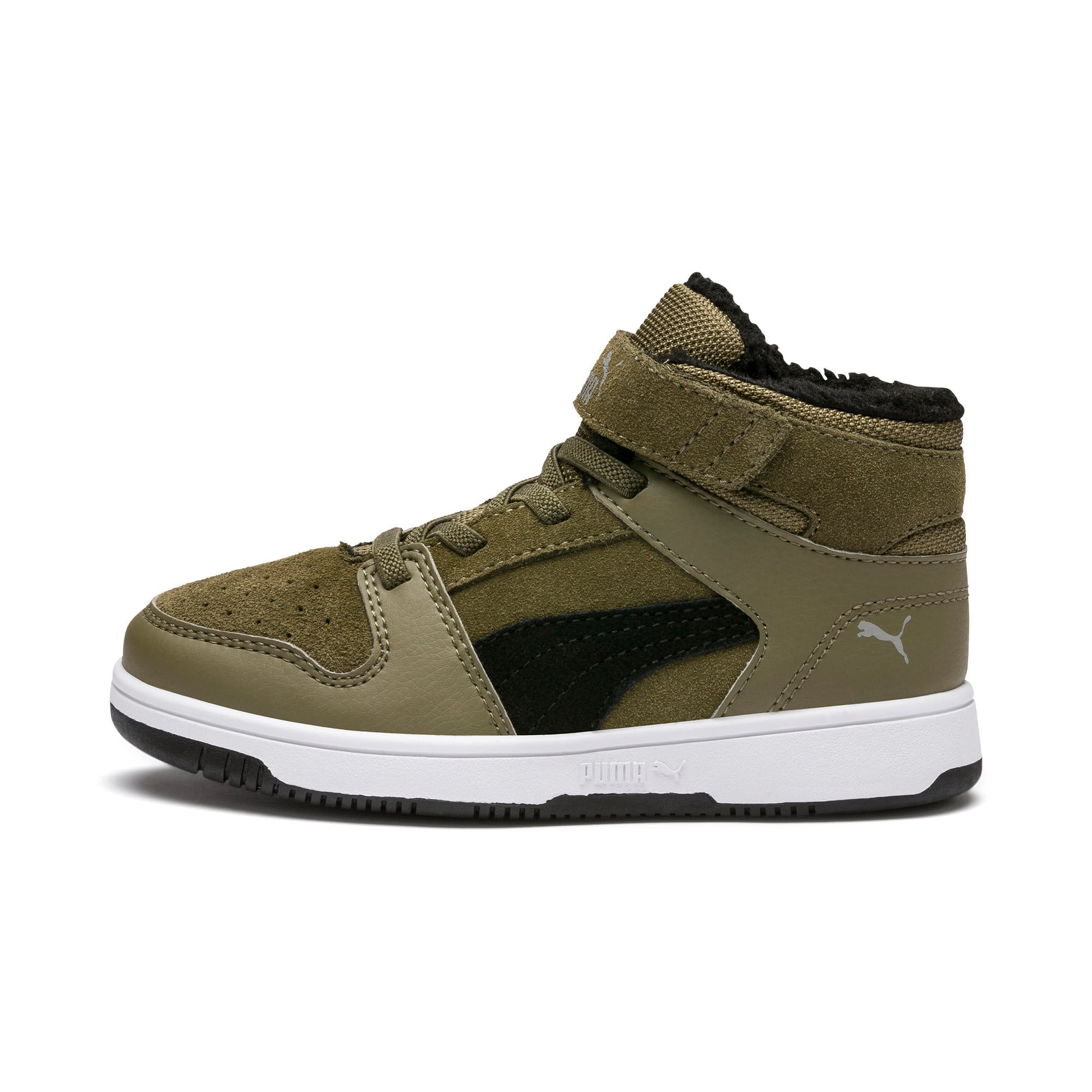 Thumbnail 1 of Rebound Lay-Up Fur V Kids' Trainers, B Olive-Black-Limestone-Wht, medium
