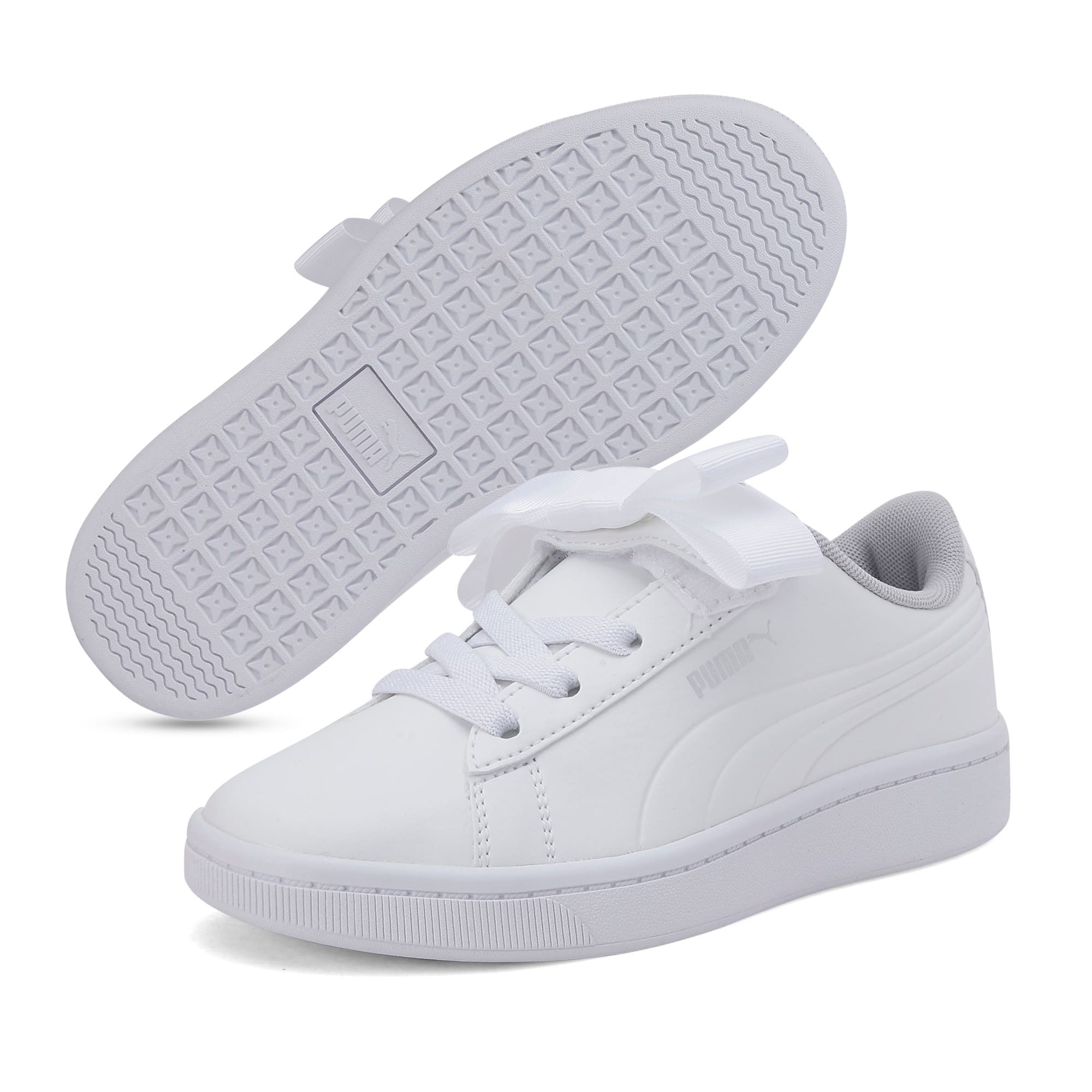 Thumbnail 2 of Vikky v2 Ribbon AC Kids' Trainers, White-Silver-Gray Violet, medium-IND