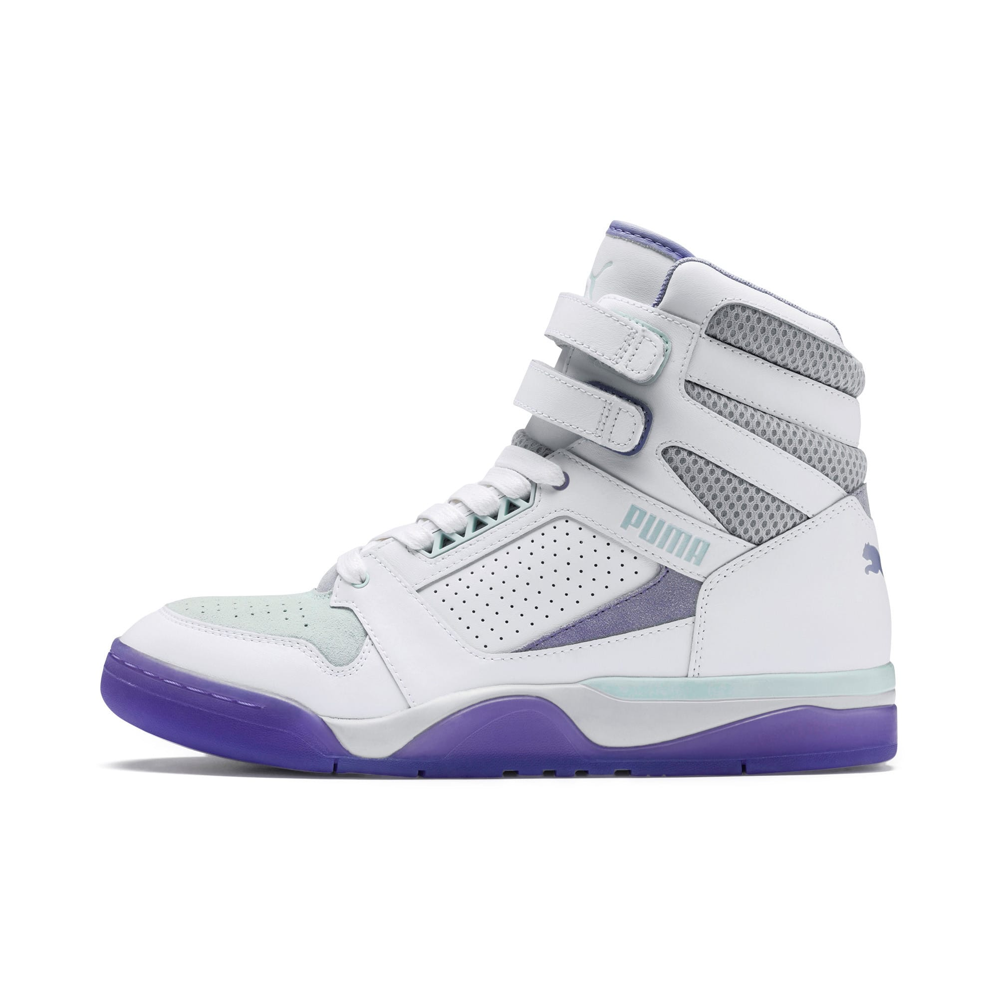 Thumbnail 1 of Palace Guard Mid Easter Sneakers, PWht-Dandelion-Prism Violet, medium