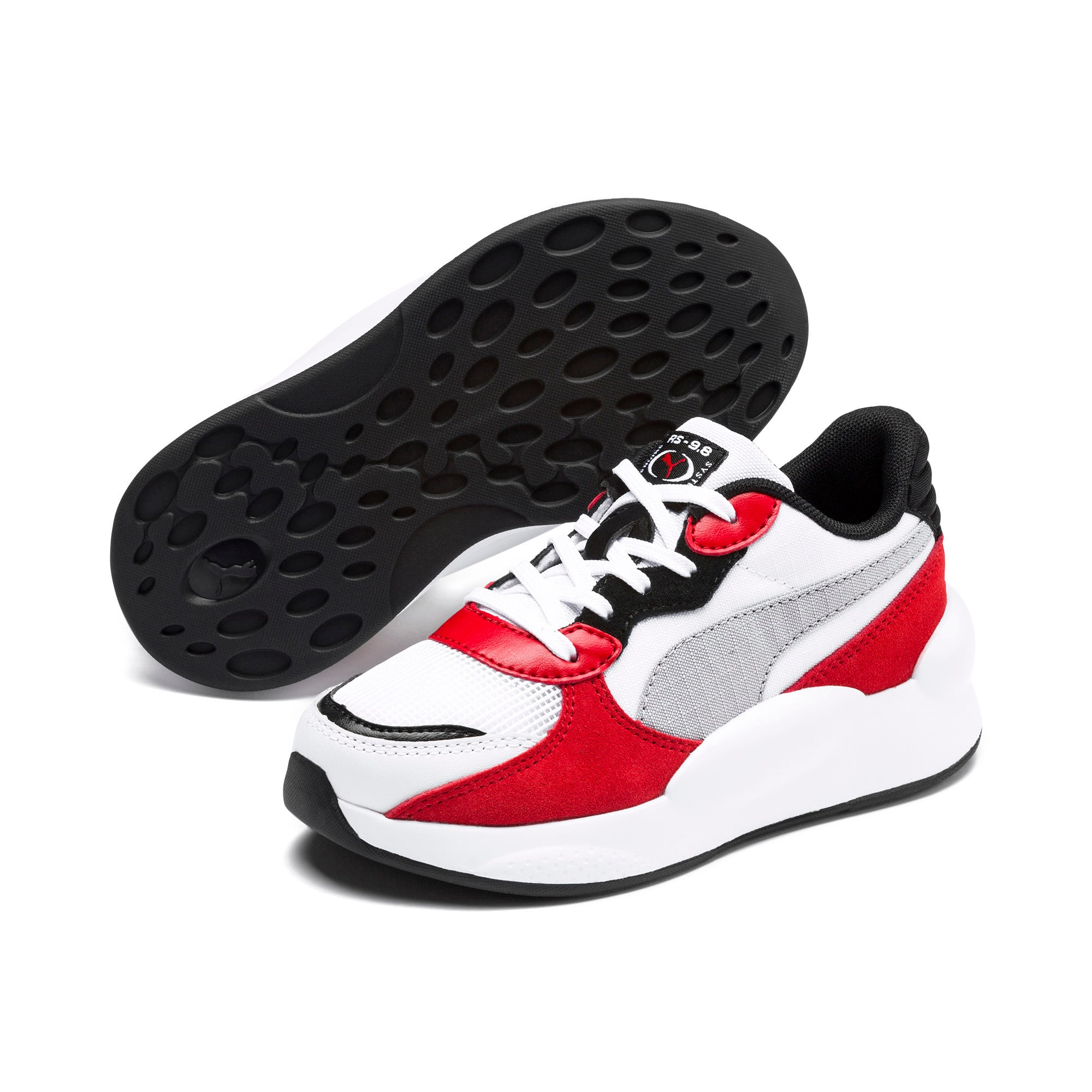 Thumbnail 2 of RS 9.8 Space Kids' Trainers, Puma White-High Risk Red, medium