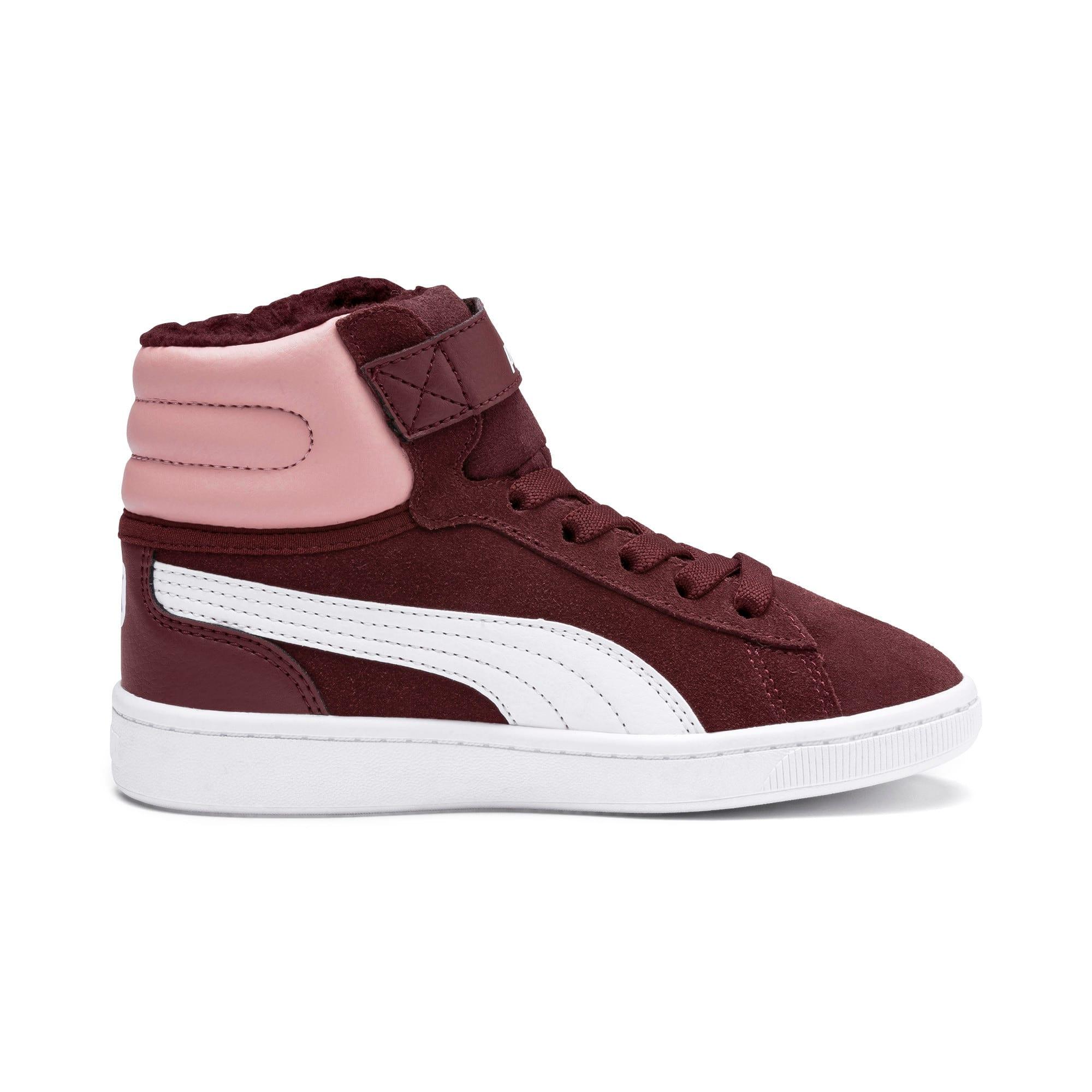 Thumbnail 5 of Vikky v2 Mid Fur V Kids Sneaker, Vineyard Wine-B Rose-White, medium