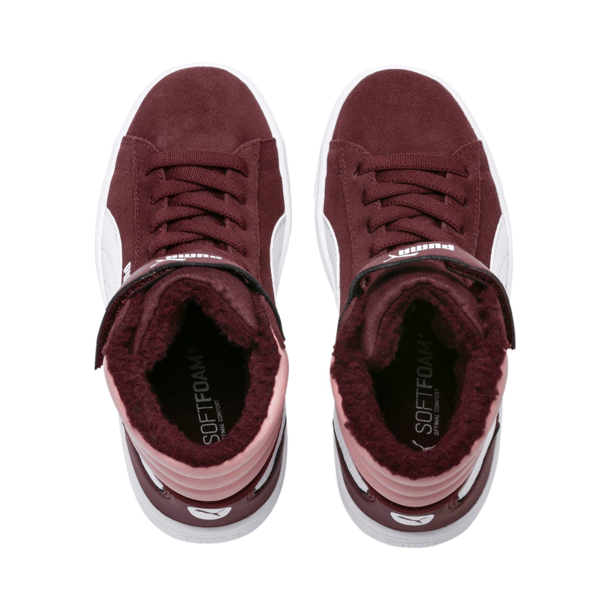 Thumbnail 6 of Vikky v2 Mid Fur V Kids Sneaker, Vineyard Wine-B Rose-White, medium