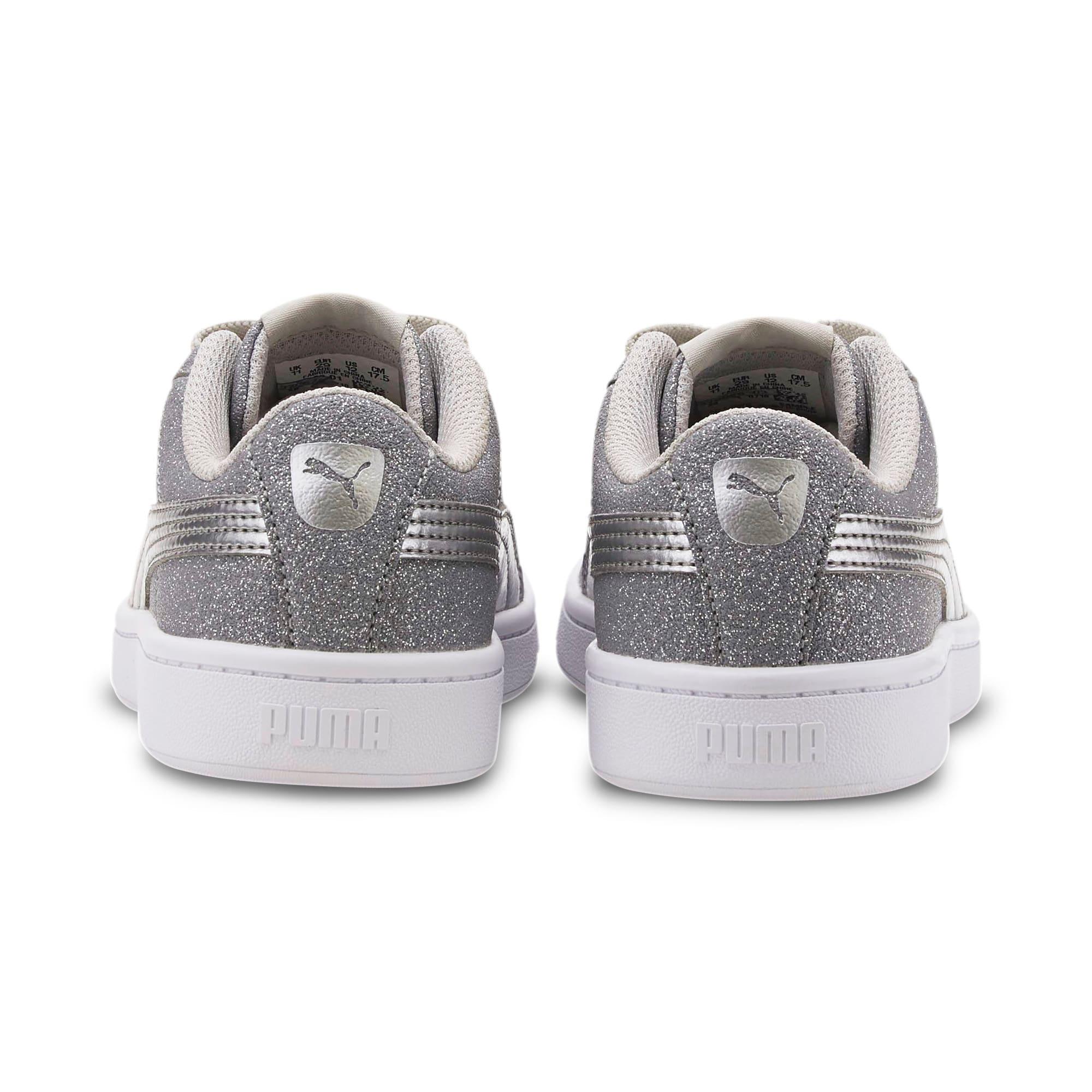 Thumbnail 3 of PUMA Vikky v2 Glitz AC Sneakers PS, Gray Violet-Silver-White, medium