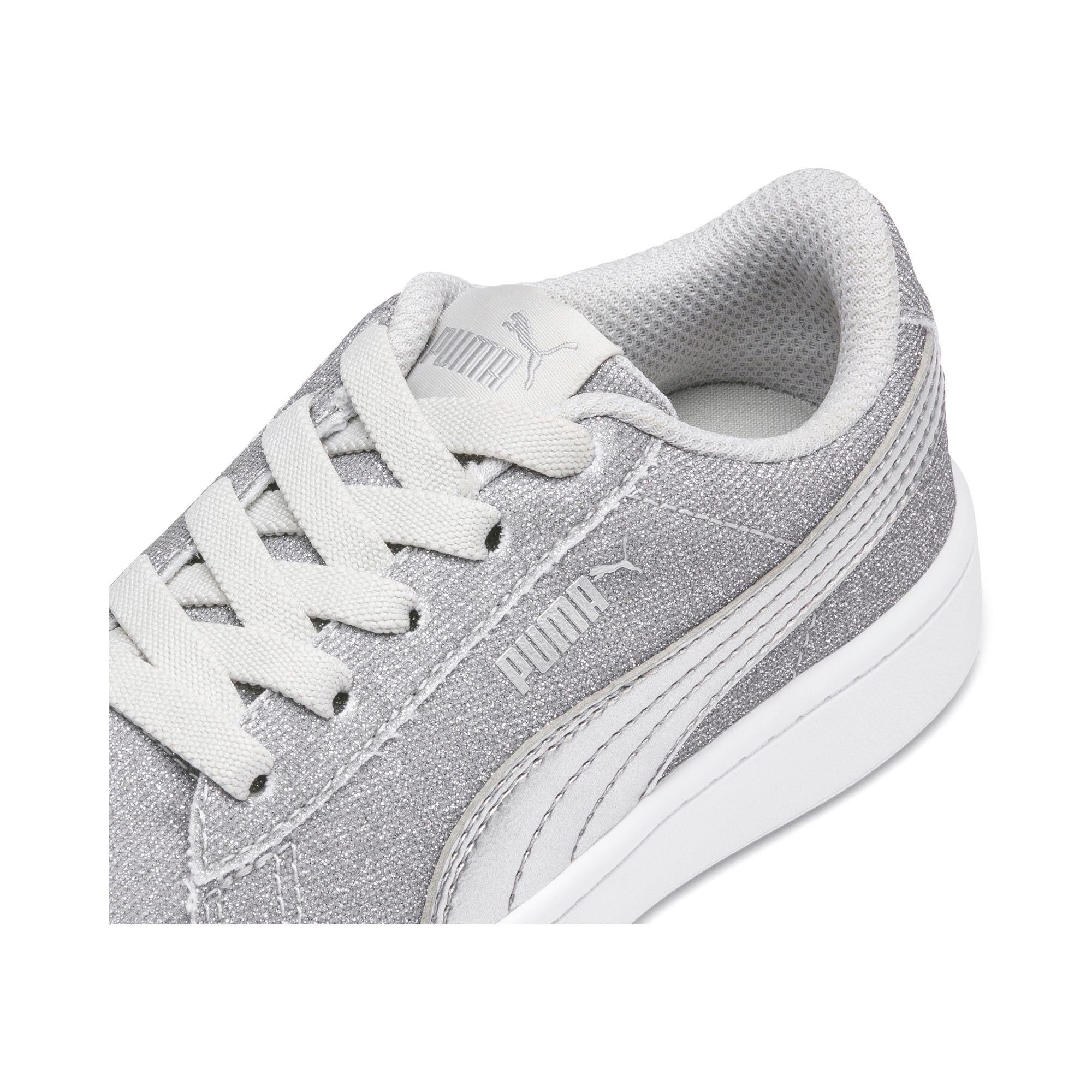 Thumbnail 7 of PUMA Vikky v2 Glitz AC Sneakers PS, Gray Violet-Silver-White, medium