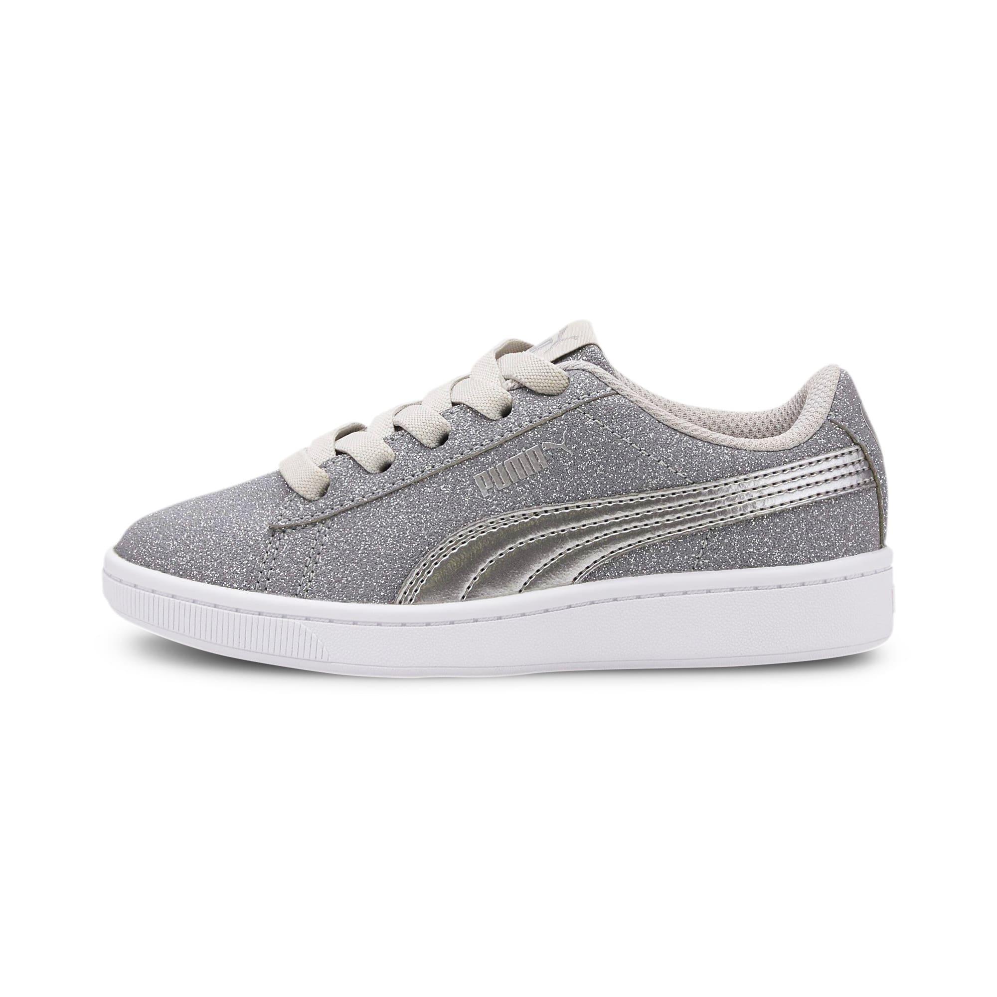 Thumbnail 1 of PUMA Vikky v2 Glitz AC Sneakers PS, Gray Violet-Silver-White, medium
