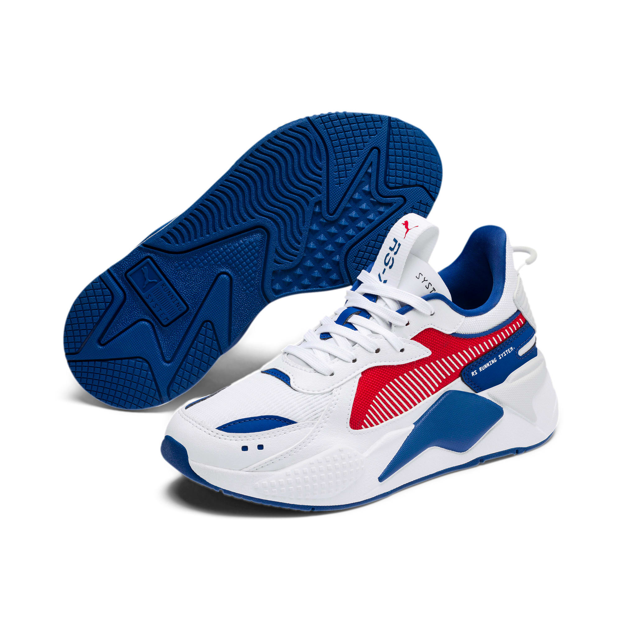 Thumbnail 2 of RS-X Hard Drive Youth Trainers, Puma White-High Risk Red, medium