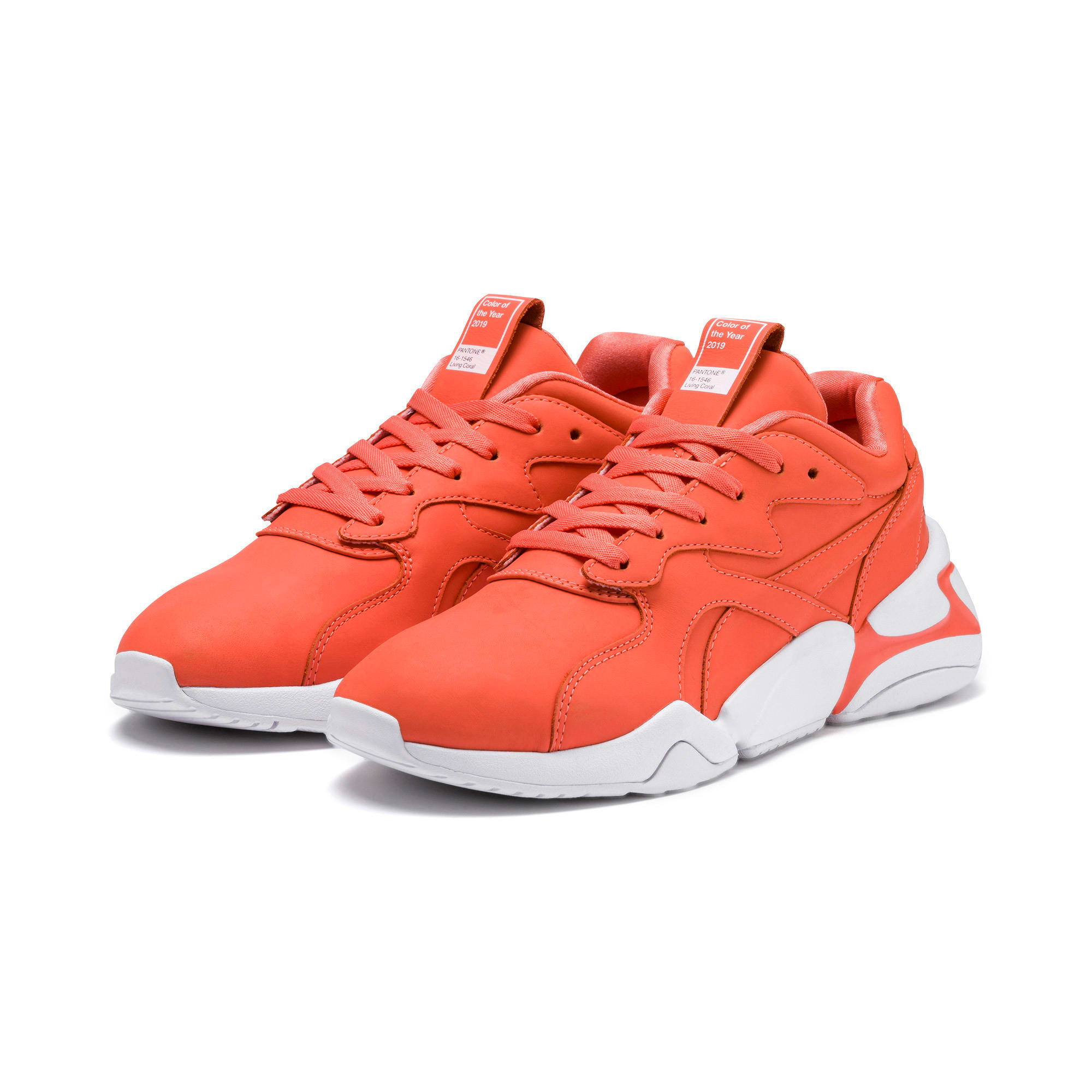 Thumbnail 2 of PUMA x PANTONE Nova Women's Trainers, Living Coral-Puma White, medium