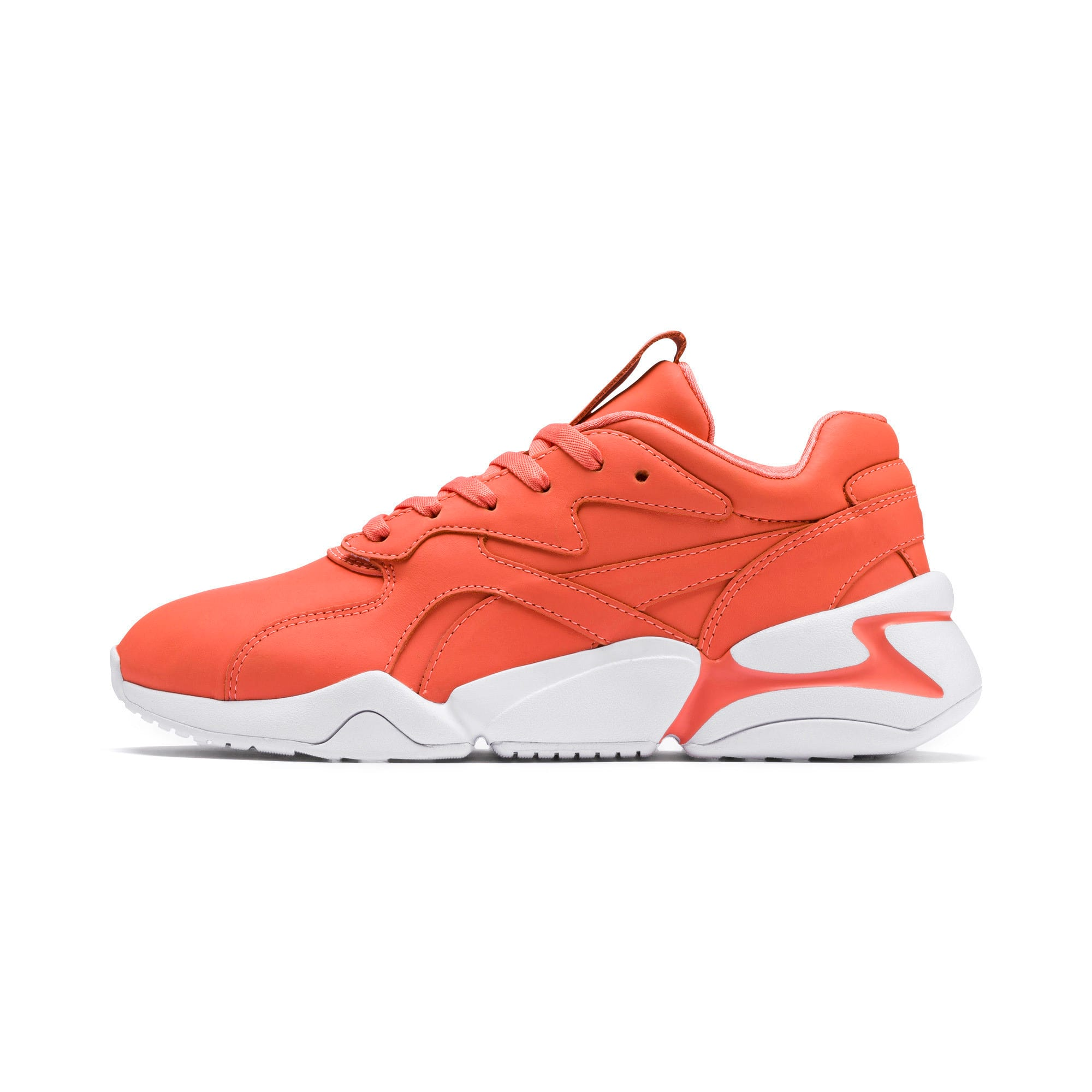 Thumbnail 1 of PUMA x PANTONE Nova Women's Trainers, Living Coral-Puma White, medium