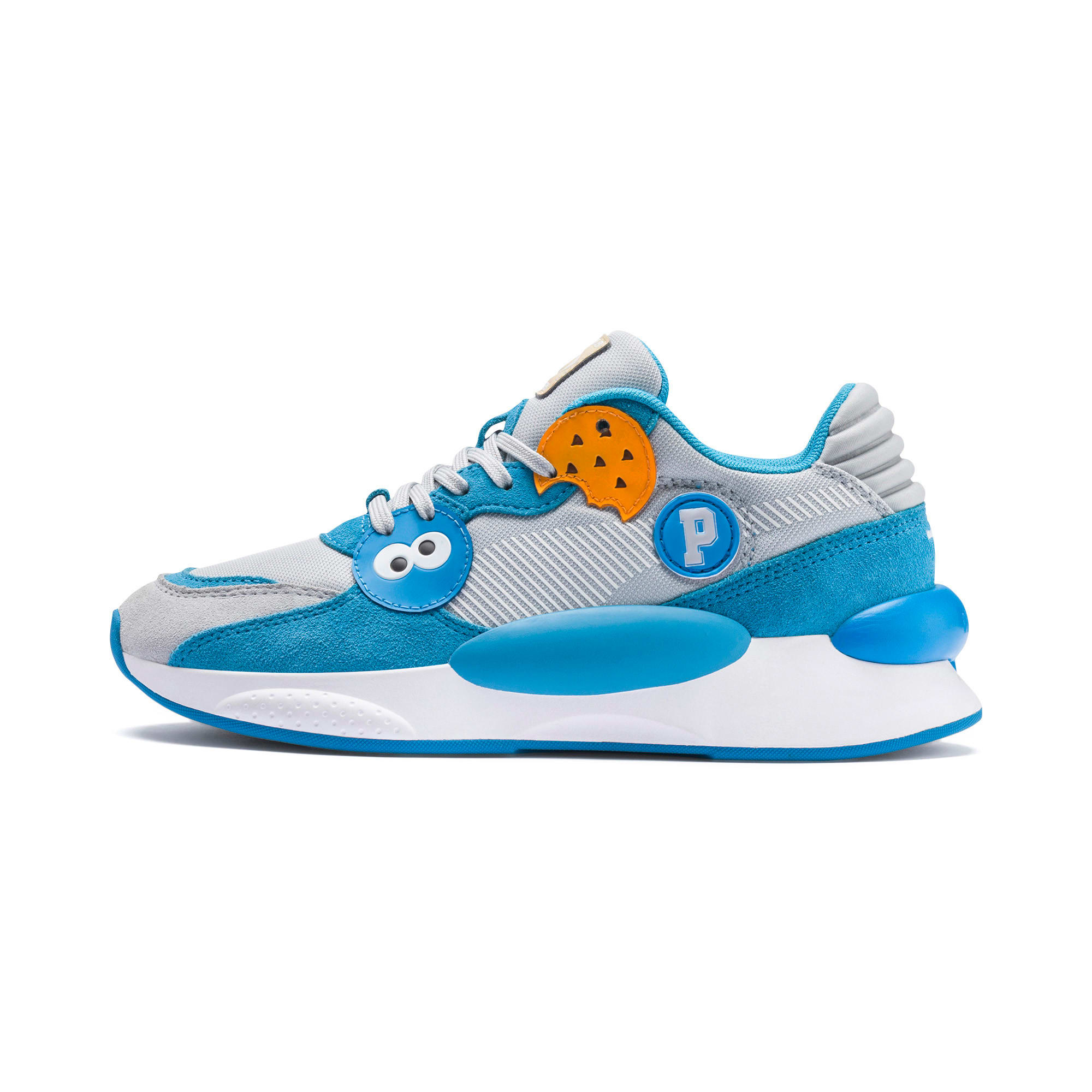 Thumbnail 1 of Sesame Street 50 RS 9.8 Youth Trainers, Grey Dawn-Bleu Azur, medium