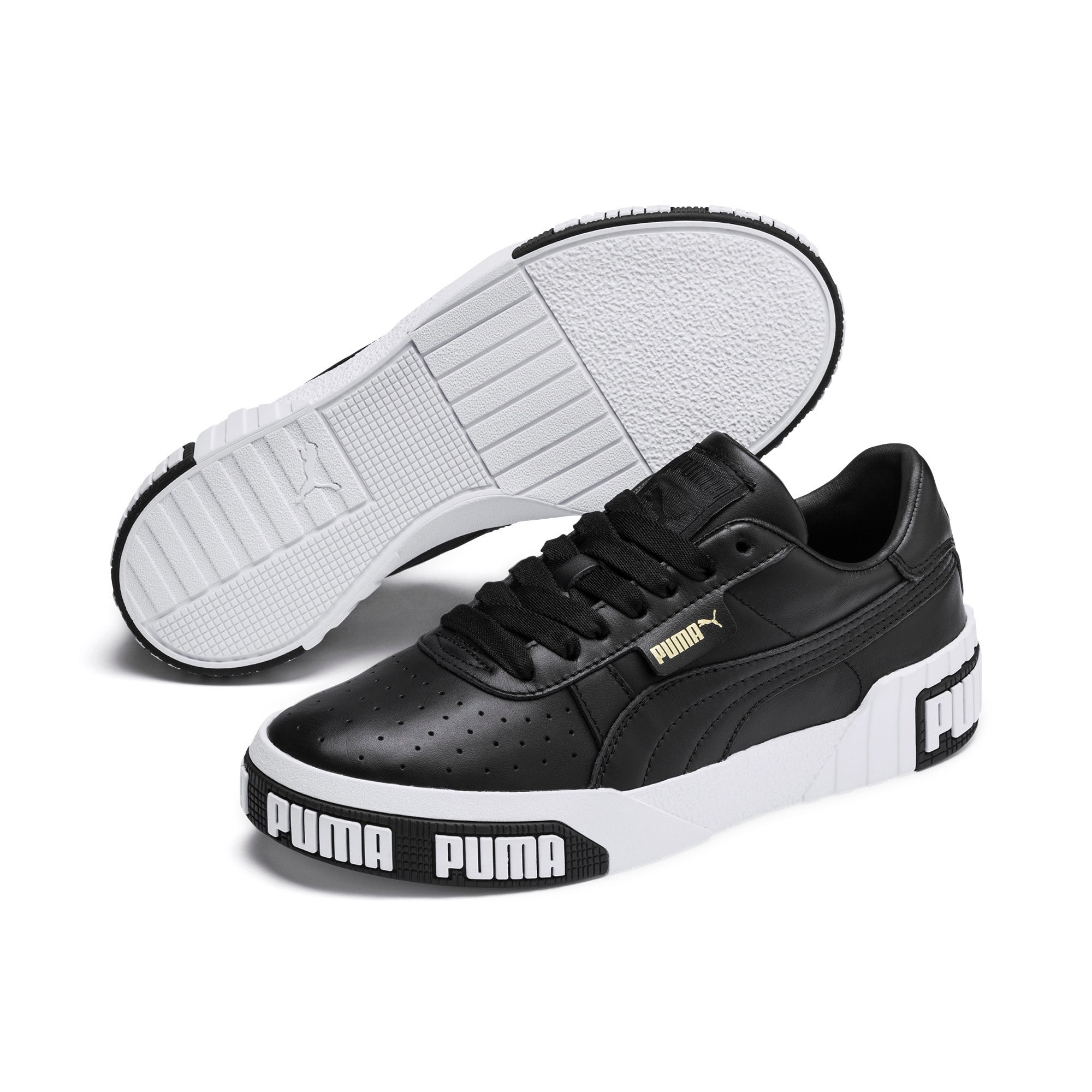 Thumbnail 3 of Cali Bold Women's Sneakers, Puma Black-Metallic Gold, medium
