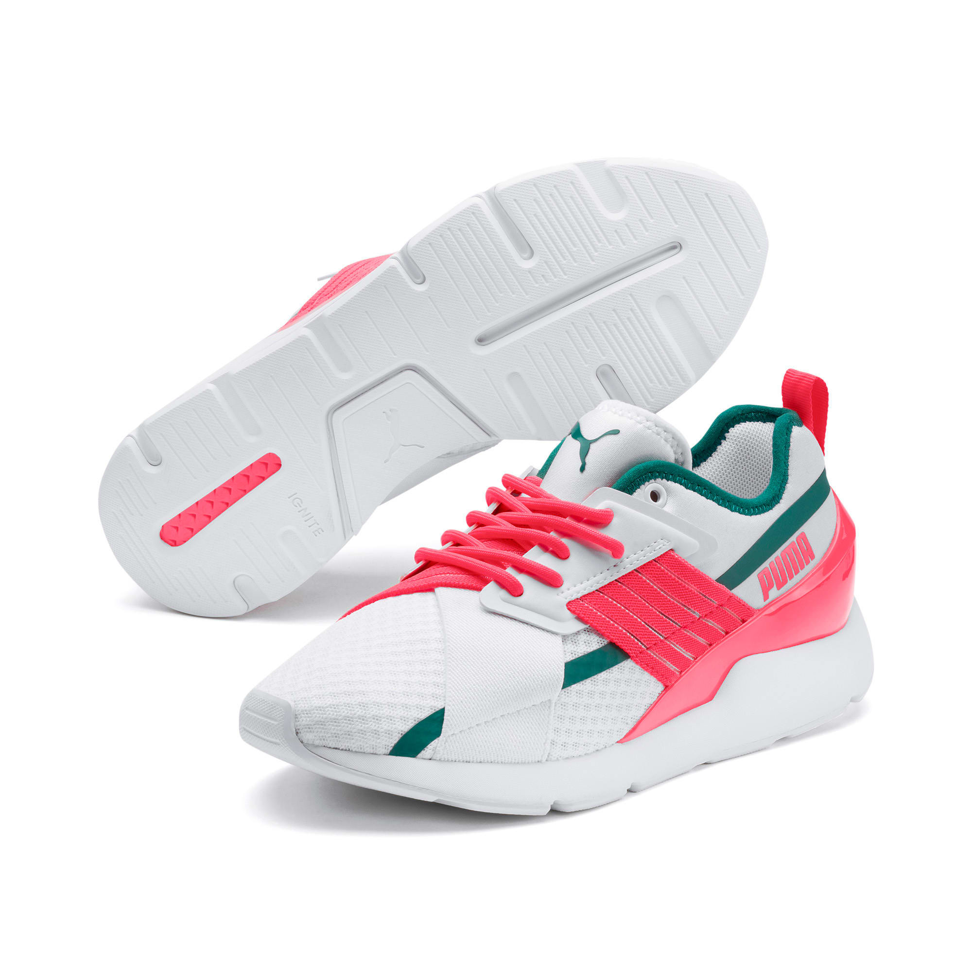 Thumbnail 3 of Muse X-2 Damen Sneaker, Puma White-Pink Alert, medium
