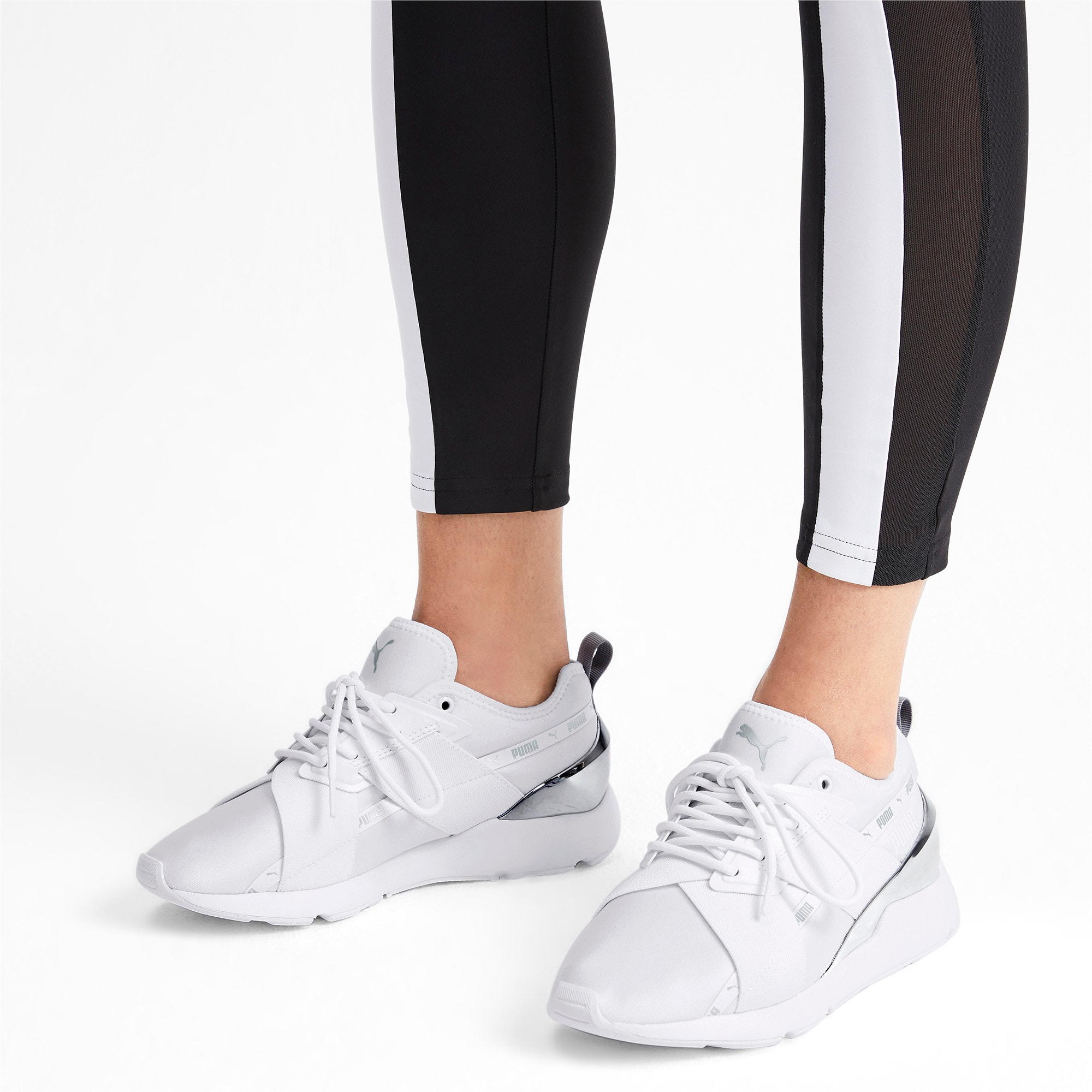 Thumbnail 2 of Muse X-2 Metallic Women's Sneakers, Puma White, medium
