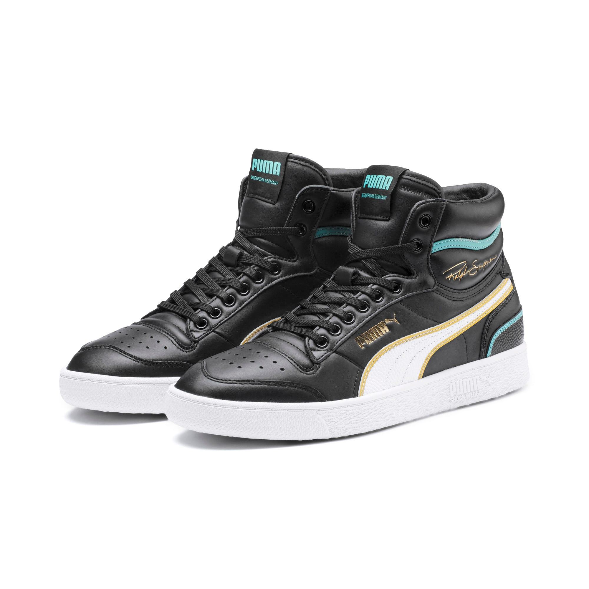 Thumbnail 3 of Ralph Sampson Mid Hoops Sneakers, Puma Blk-Puma Wht-Puma Wht, medium