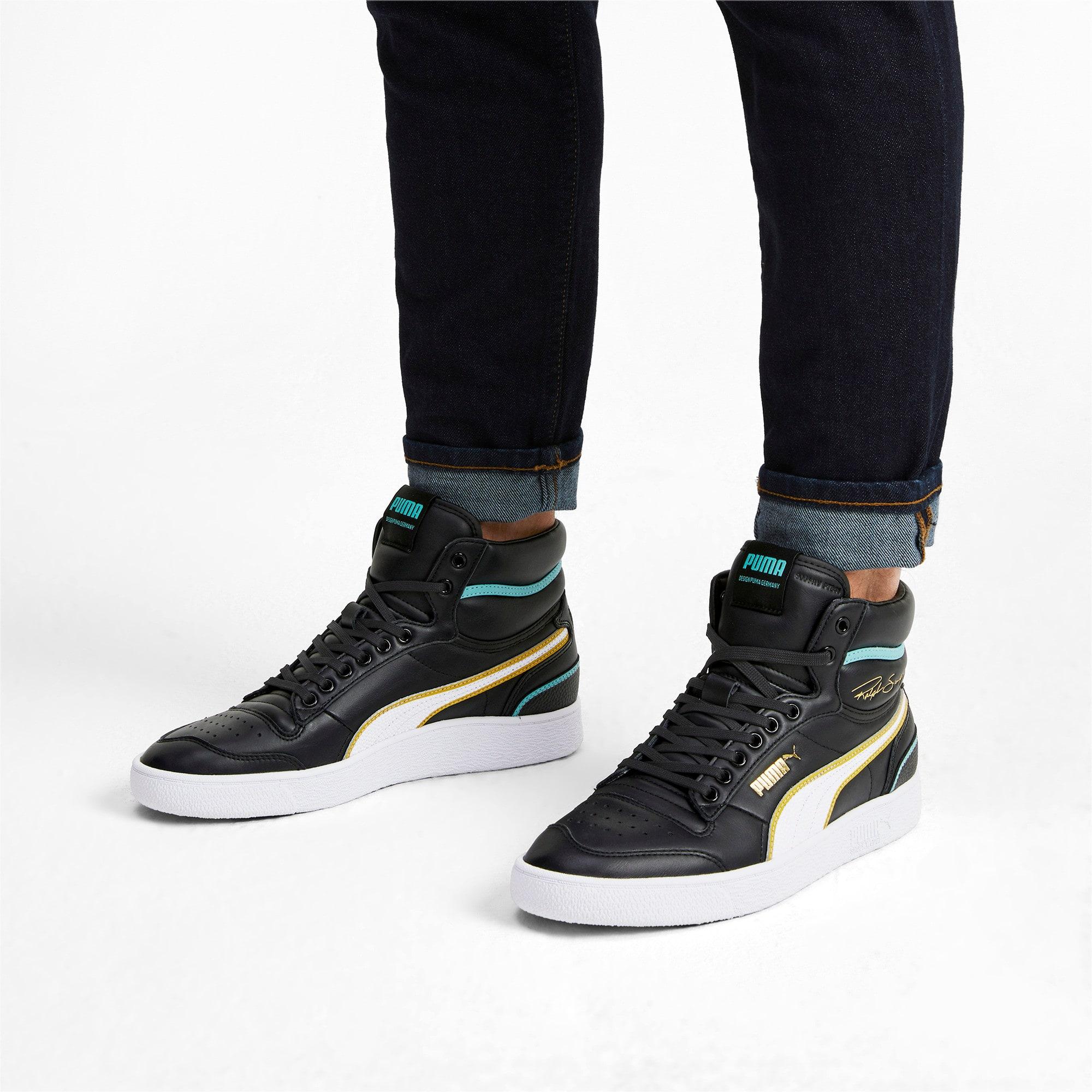 Thumbnail 2 of Ralph Sampson Mid Hoops Sneakers, Puma Blk-Puma Wht-Puma Wht, medium