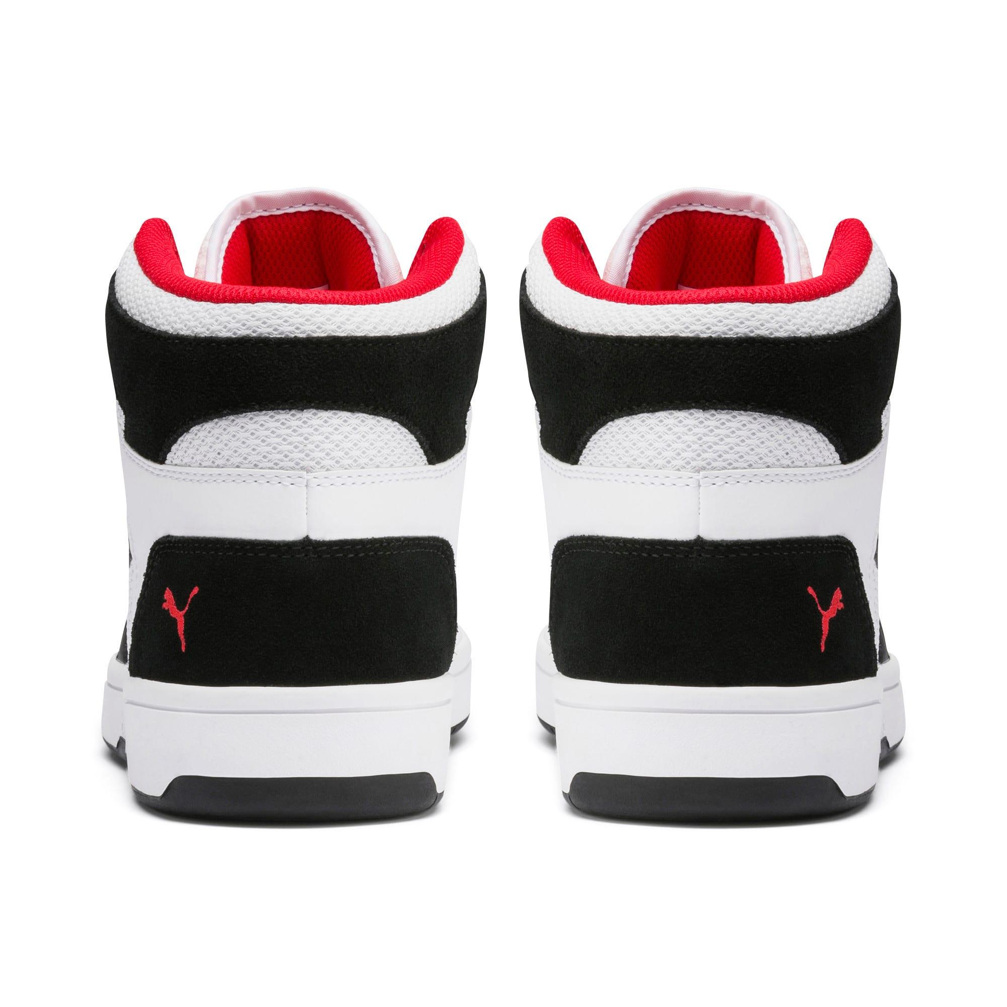 Thumbnail 3 of PUMA Rebound LayUp Mesh Sneakers, White-Black-High Risk Red, medium